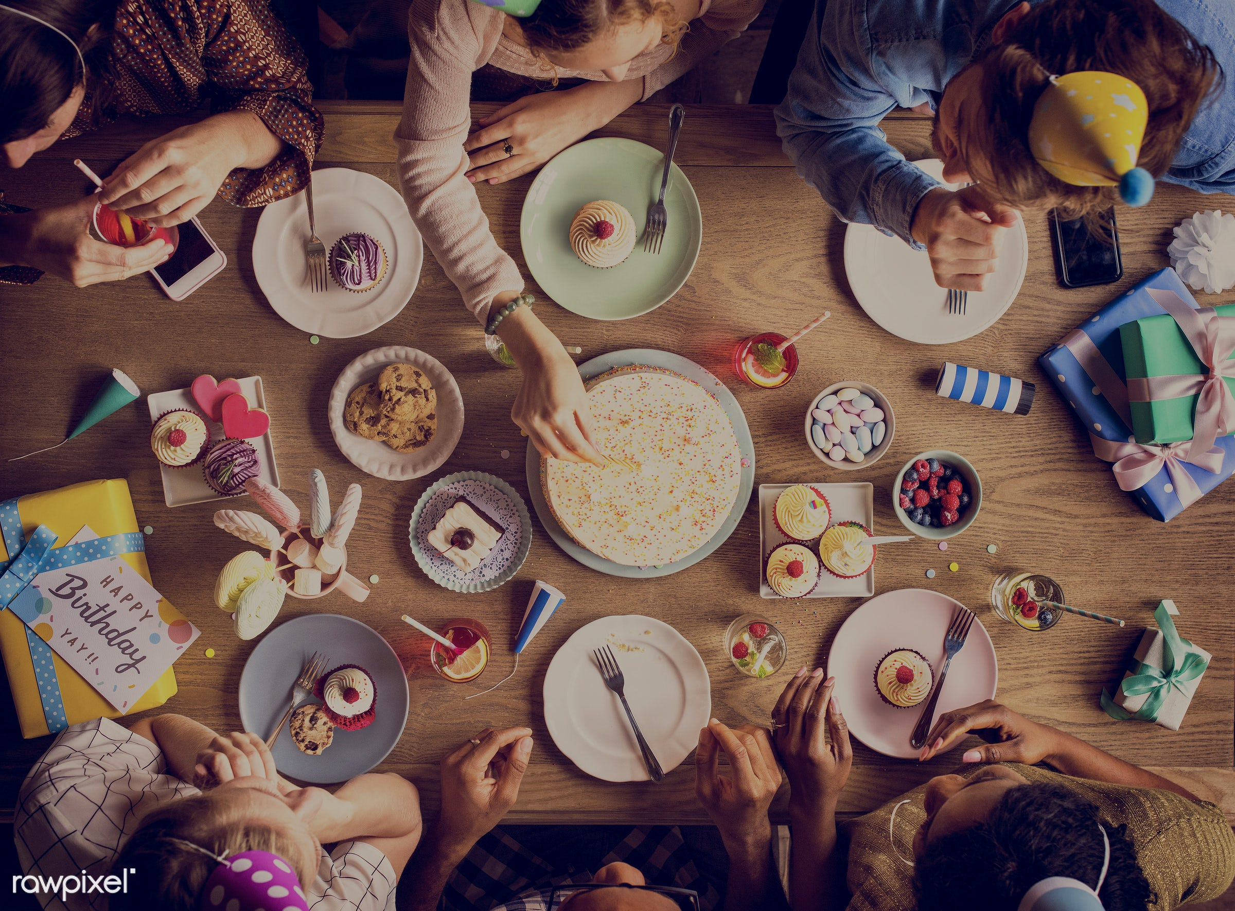 Aerial view of a table with desserts - festive, birthday, person, occasion, party, people, together, hands, event, woman,...