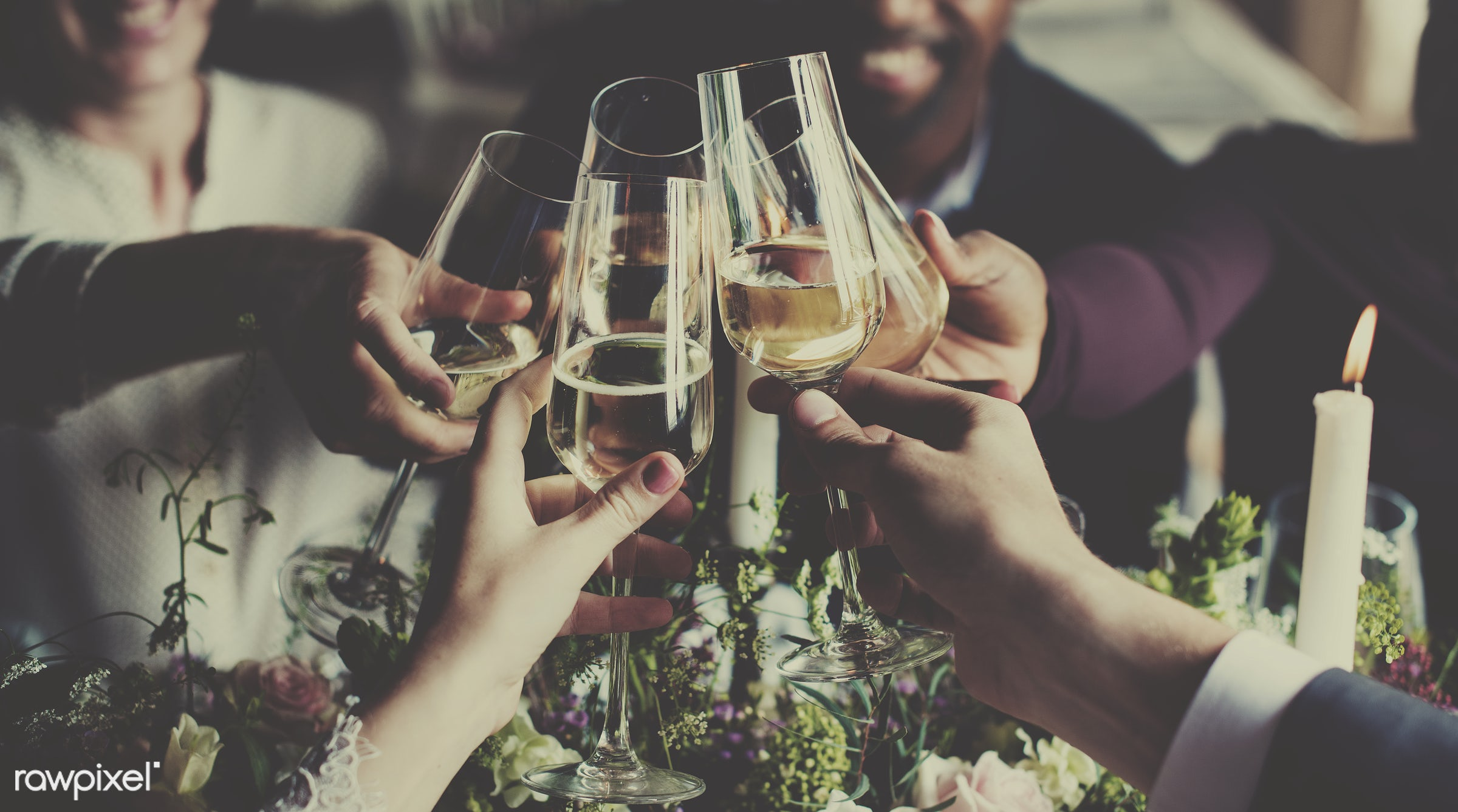 A champagne toast to celebrate - wedding, bride, celebrate, celebration, ceremony, couple, event, friends, gather, groom,...