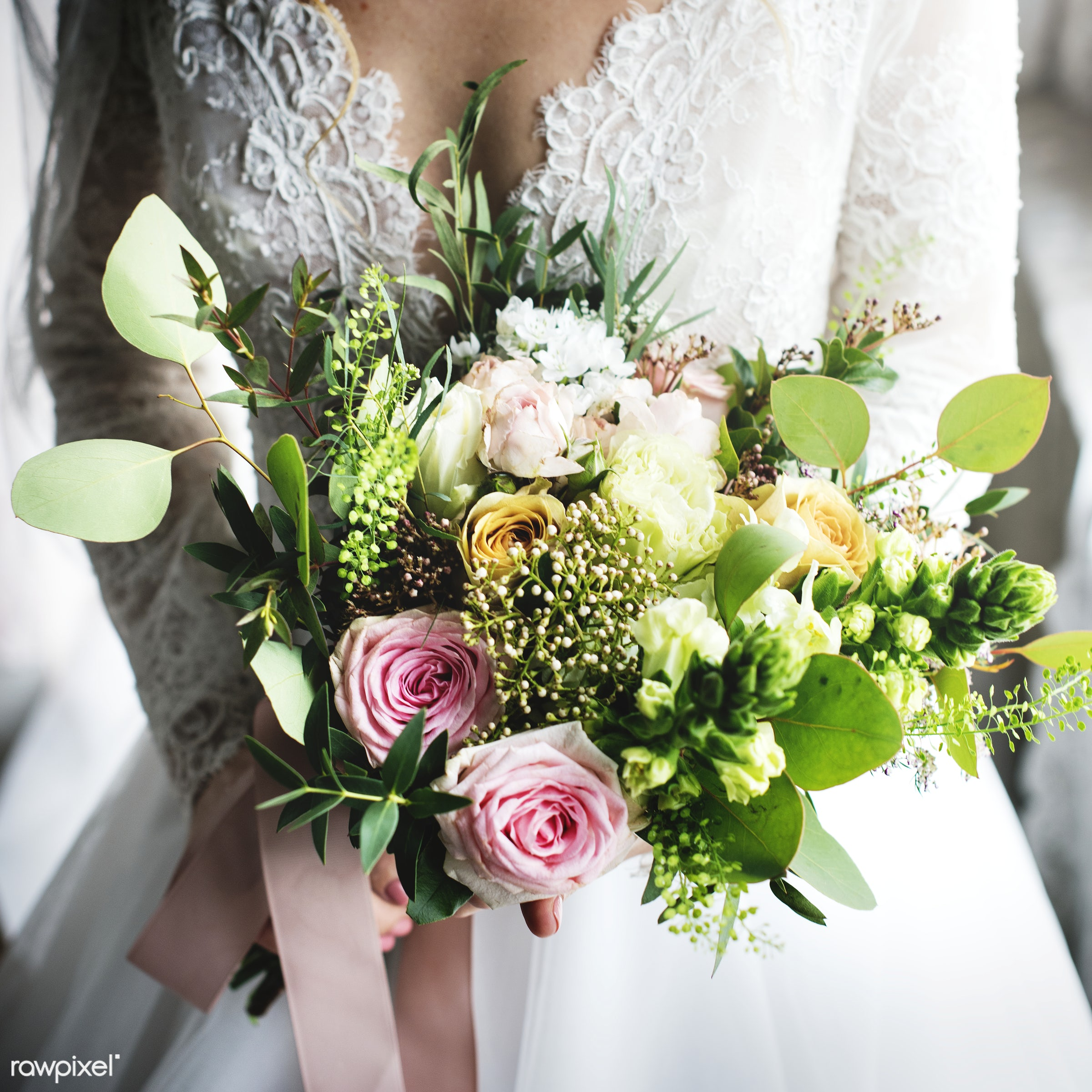 Attractive Beautiful Bride Holding Flowers Bouquet - bouquet, person, holding, people, caucasian, glamour, love, woman, gown...