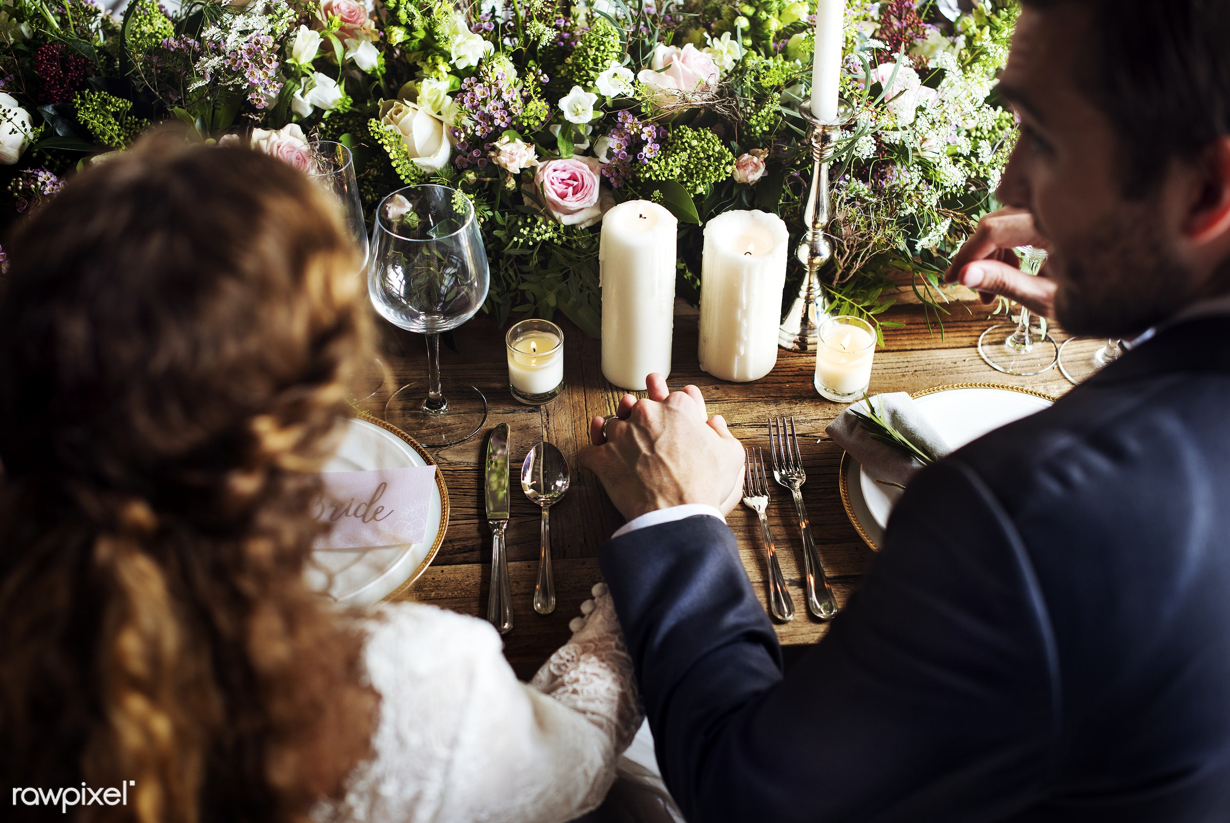 Bride and Groom Holding Hands Each Other on Wedding Reception - wedding, groom, adult, bridal, bride, celebrate, celebration...