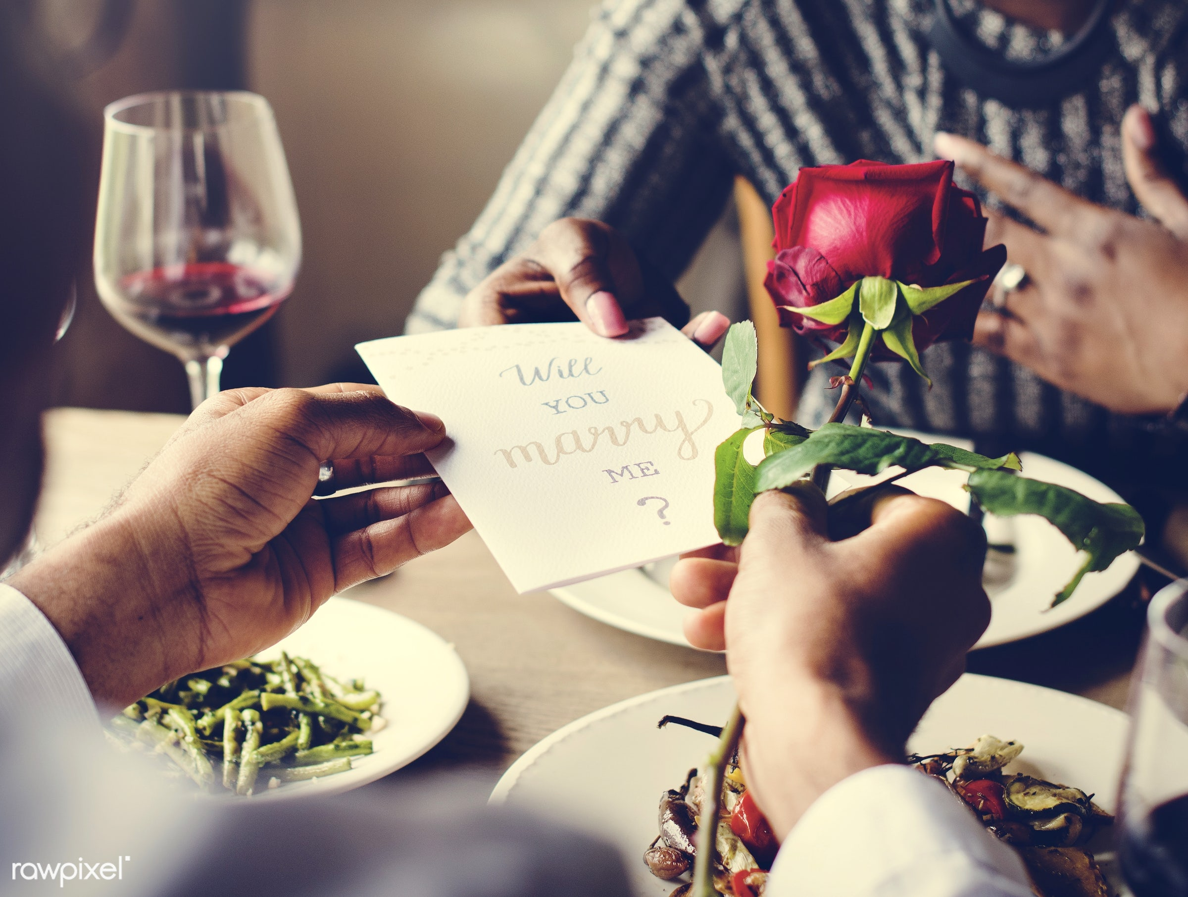 expression, person, people, together, love, woman, gather, card, lunch, cheerful, flower, marry, asking, hold, happiness,...