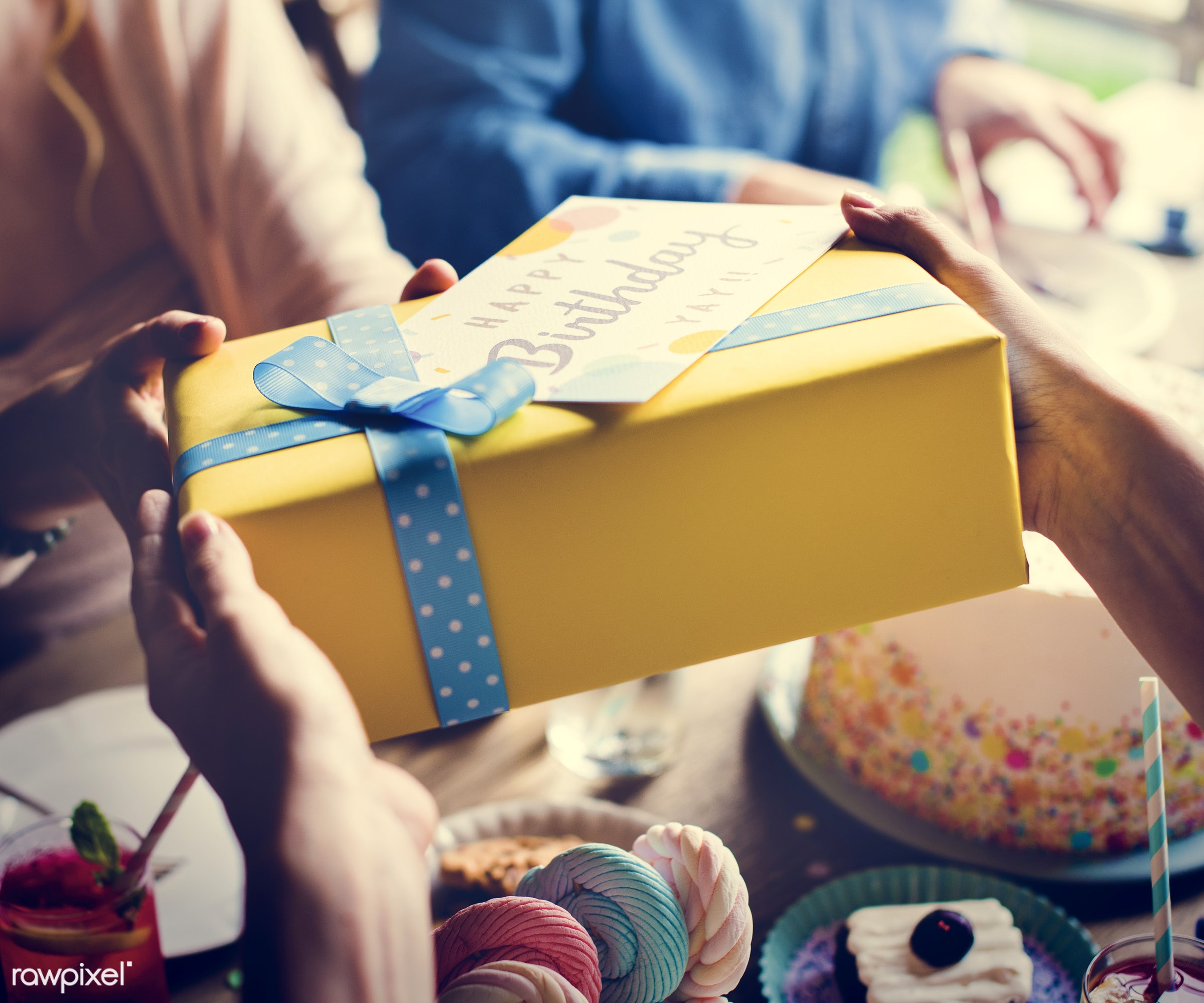 person, relax, wish, show, party, people, packaging, woman, card, cheerful, wrap, confetti, hold, happiness, fun, present,...