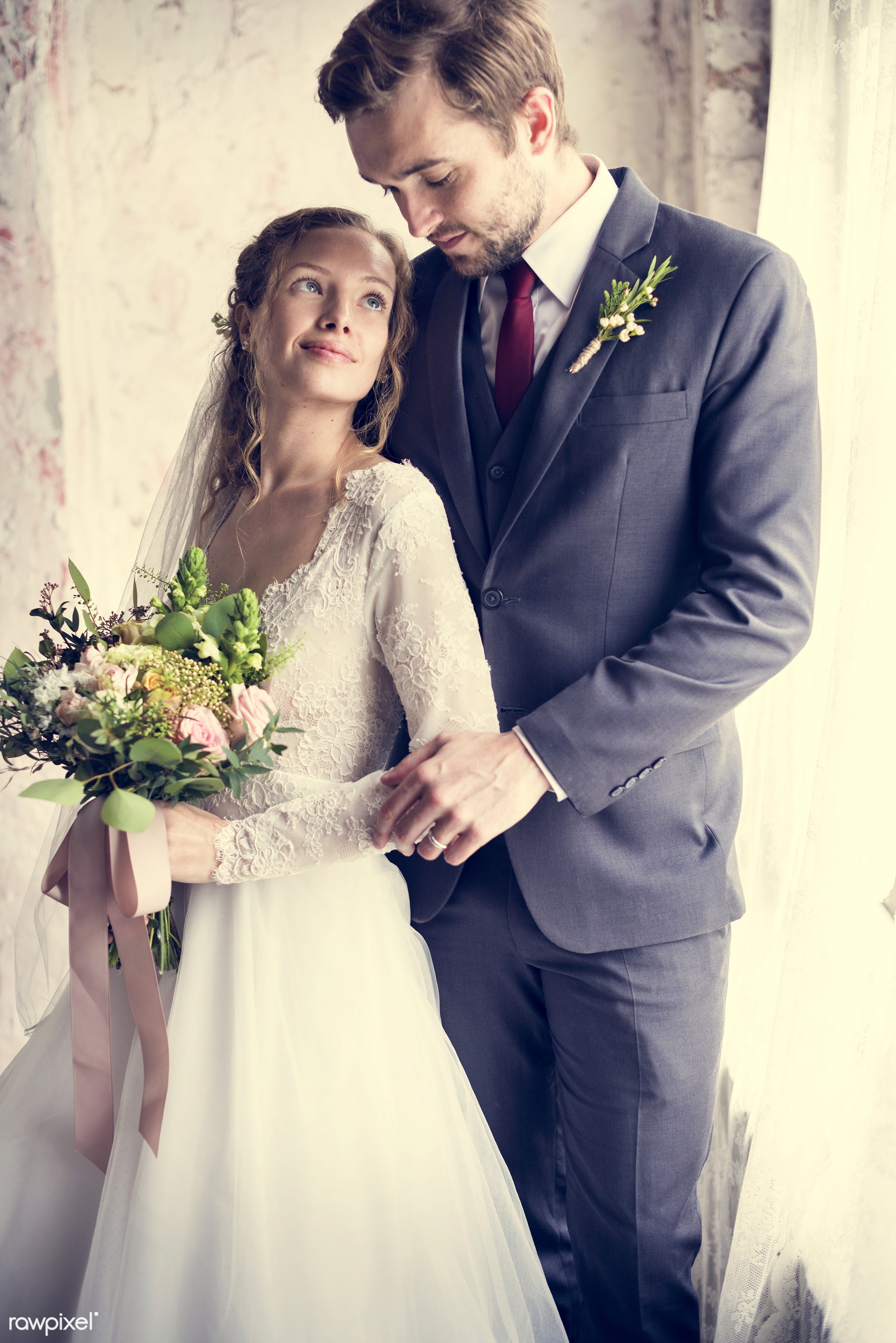 bouquet, person, hug, holding, smitten, people, together, caucasian, glamour, love, woman, gown, flowers, cheerful, marry,...
