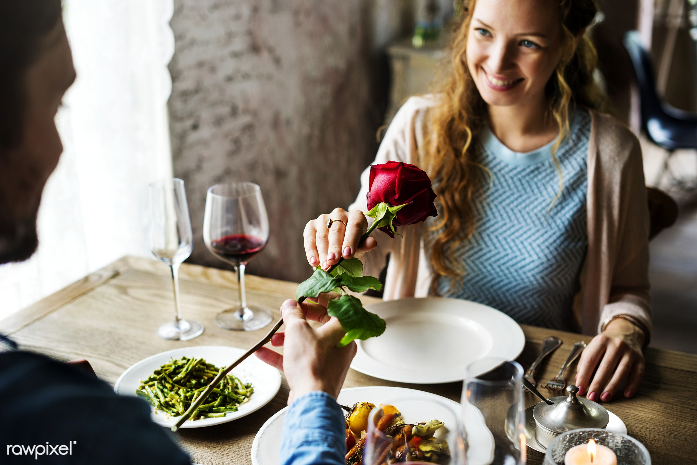 Romantic Man Giving a Rose to Woman on a Date - valentine, date, adult, celebrate, celebration, cheerful, couple, dating,...