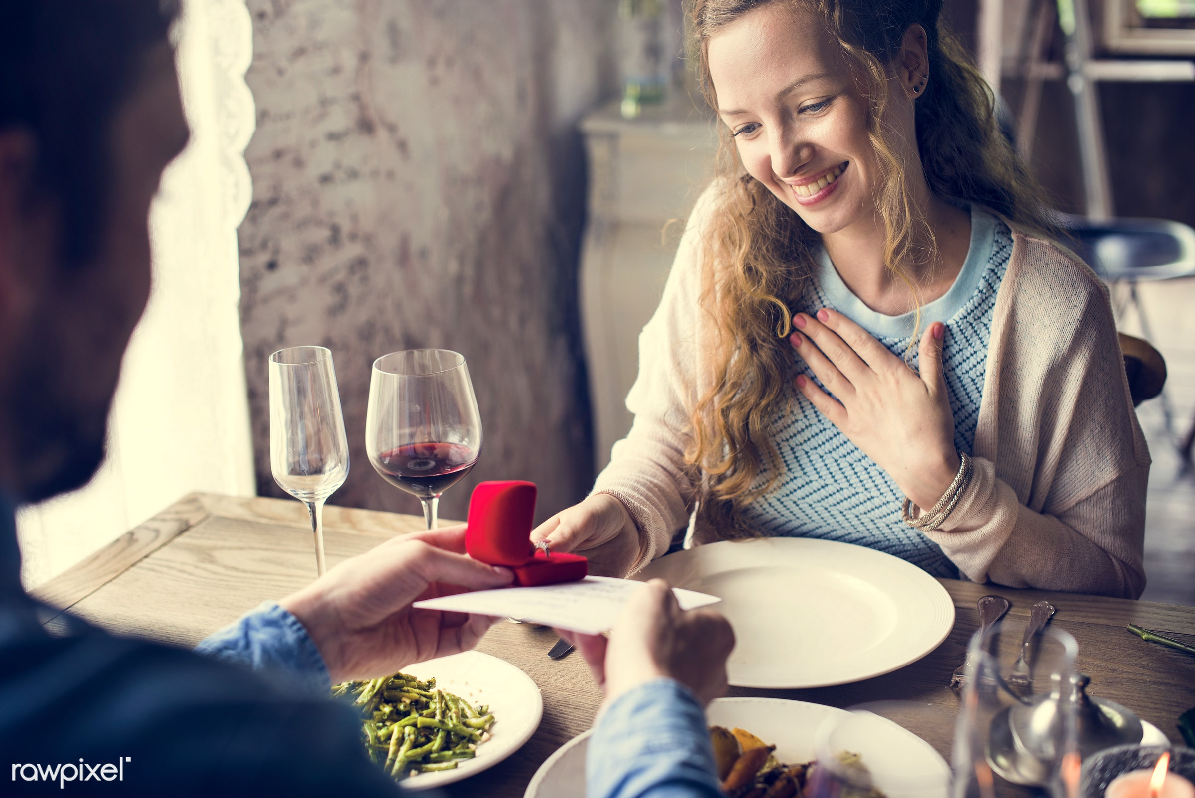 expression, person, people, together, love, woman, gather, drink, card, lunch, cheerful, marry, asking, hold, happiness,...