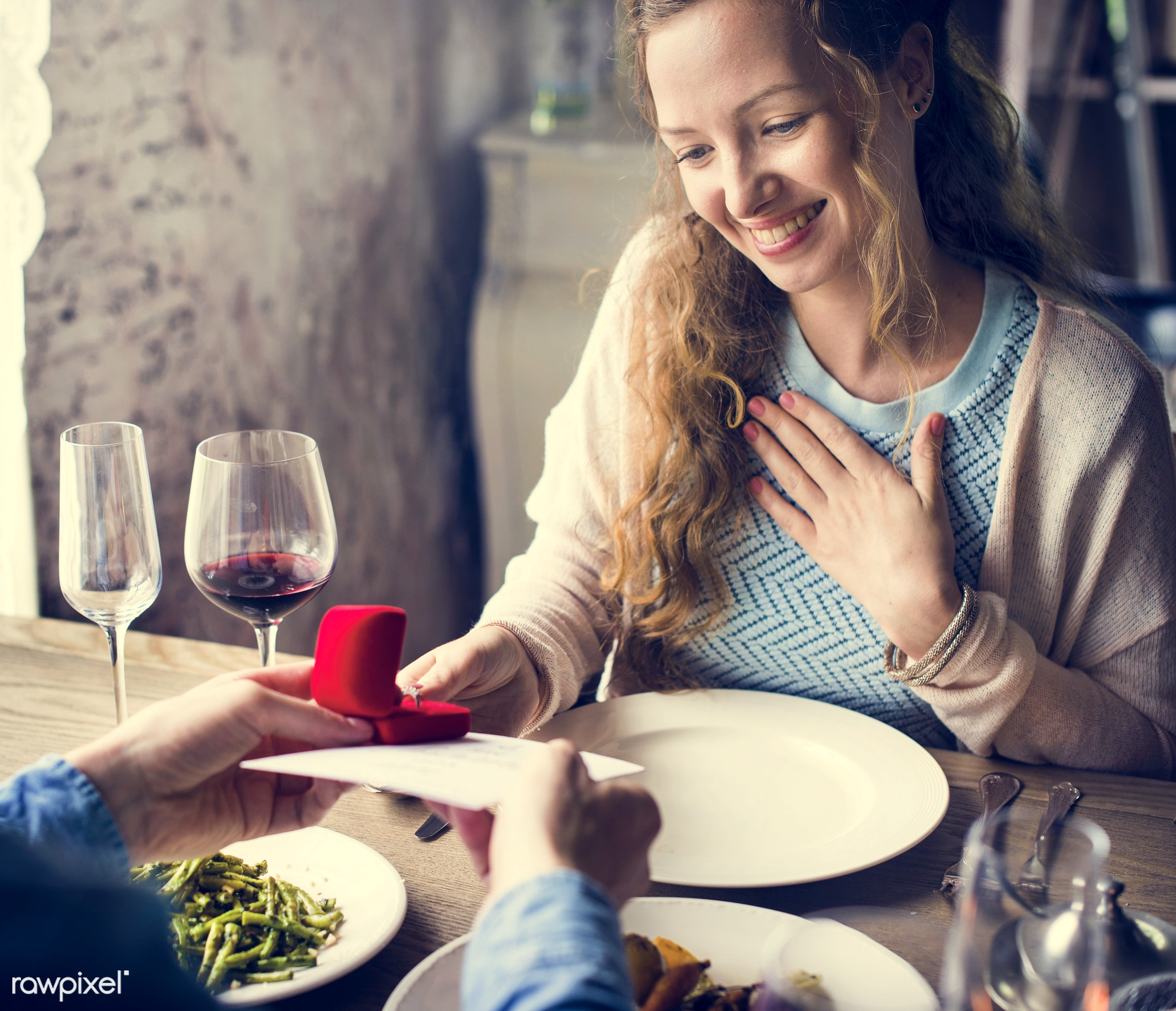 proposal, adult, asking, card, celebrate, celebration, cheerful, cheers, couple, date, dating, dine, dinner, dishes, drink,...