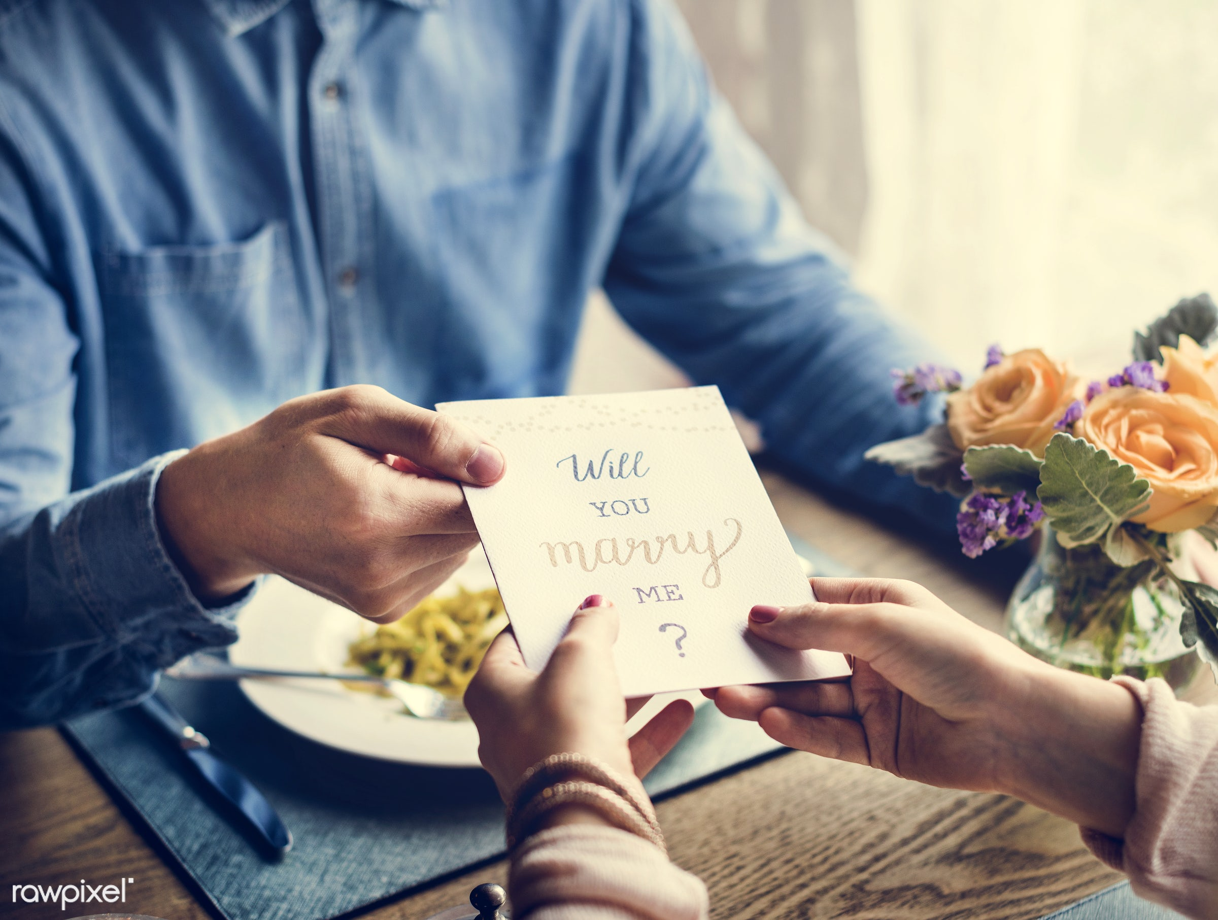 expression, person, people, together, love, woman, gather, drink, card, lunch, cheerful, flower, marry, asking, hold,...