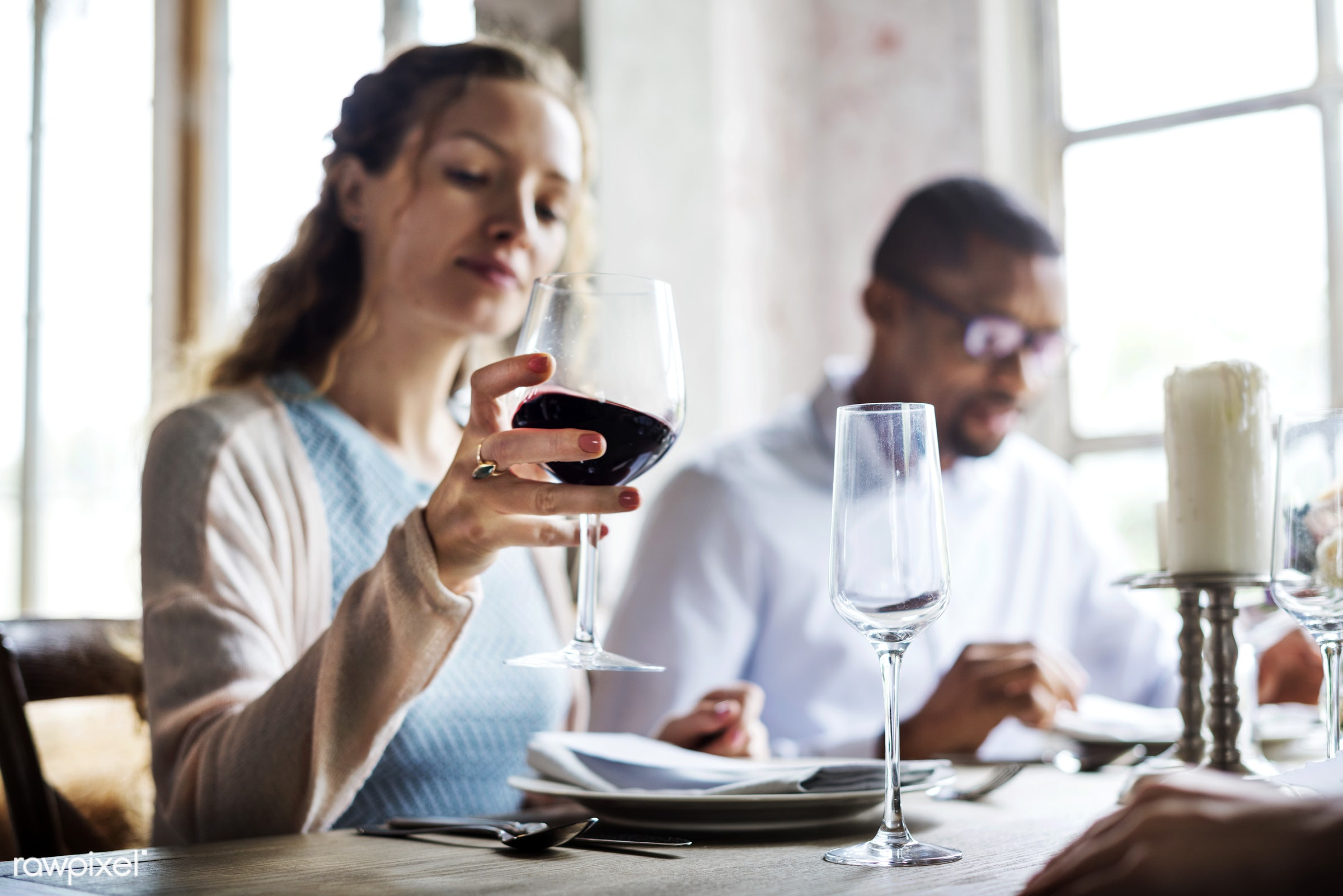 person, red wine, holding, relax, customer, people, taste, together, caucasian, course, friends, woman, relaxed, gather,...