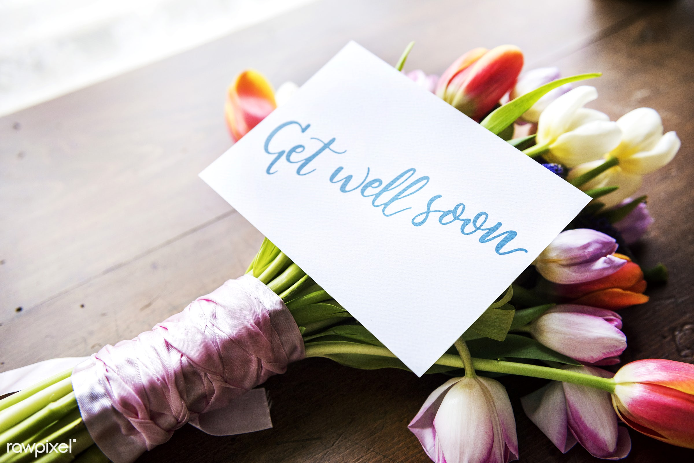 Tulips Flowers Bouquet with Get Well Soon Wishing Card - tulip, arrangement, attractive, beautiful, bloom, blooming, blossom...