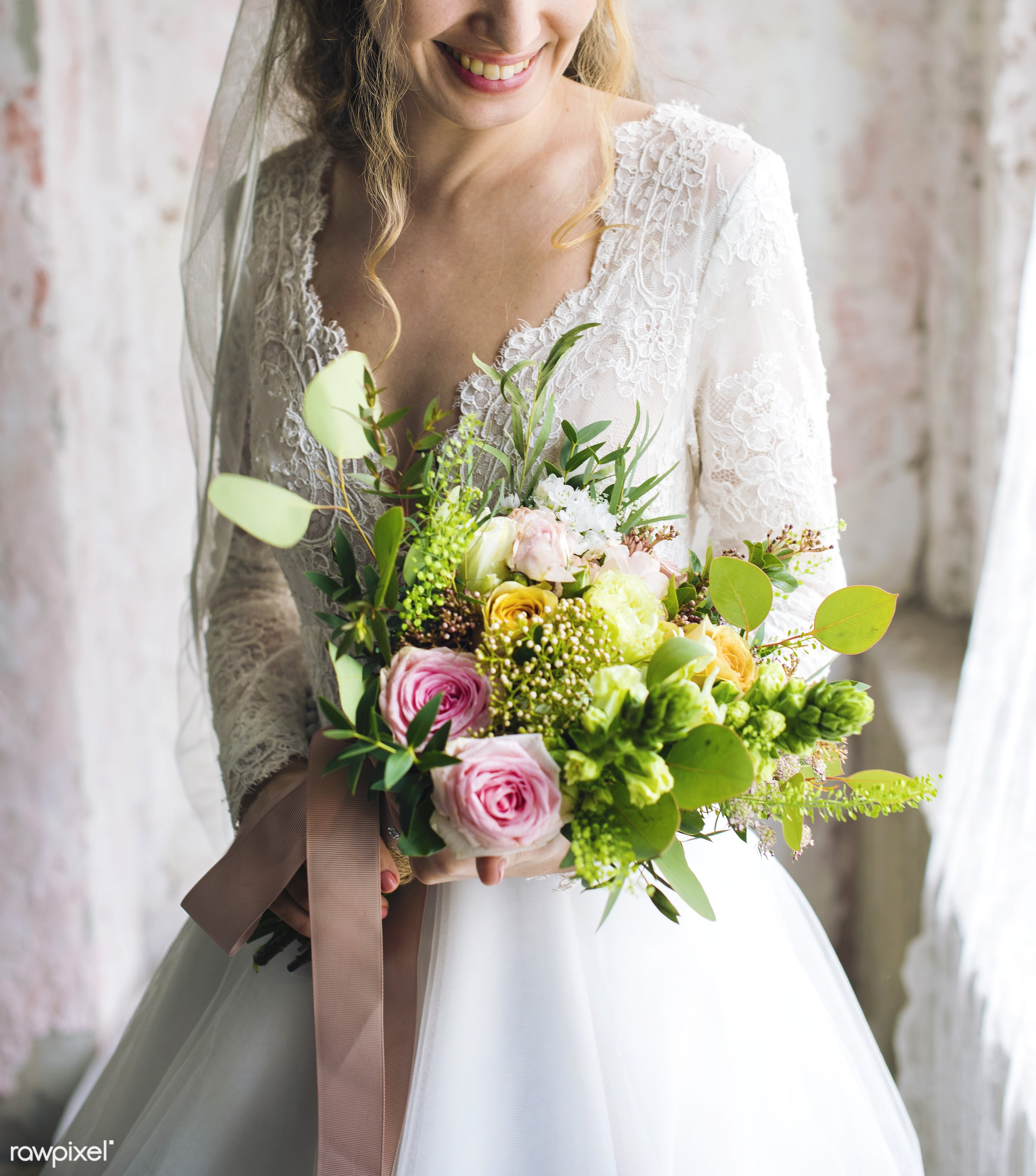 bouquet, person, holding, people, caucasian, glamour, love, woman, gown, flowers, cheerful, marry, preparation, white,...