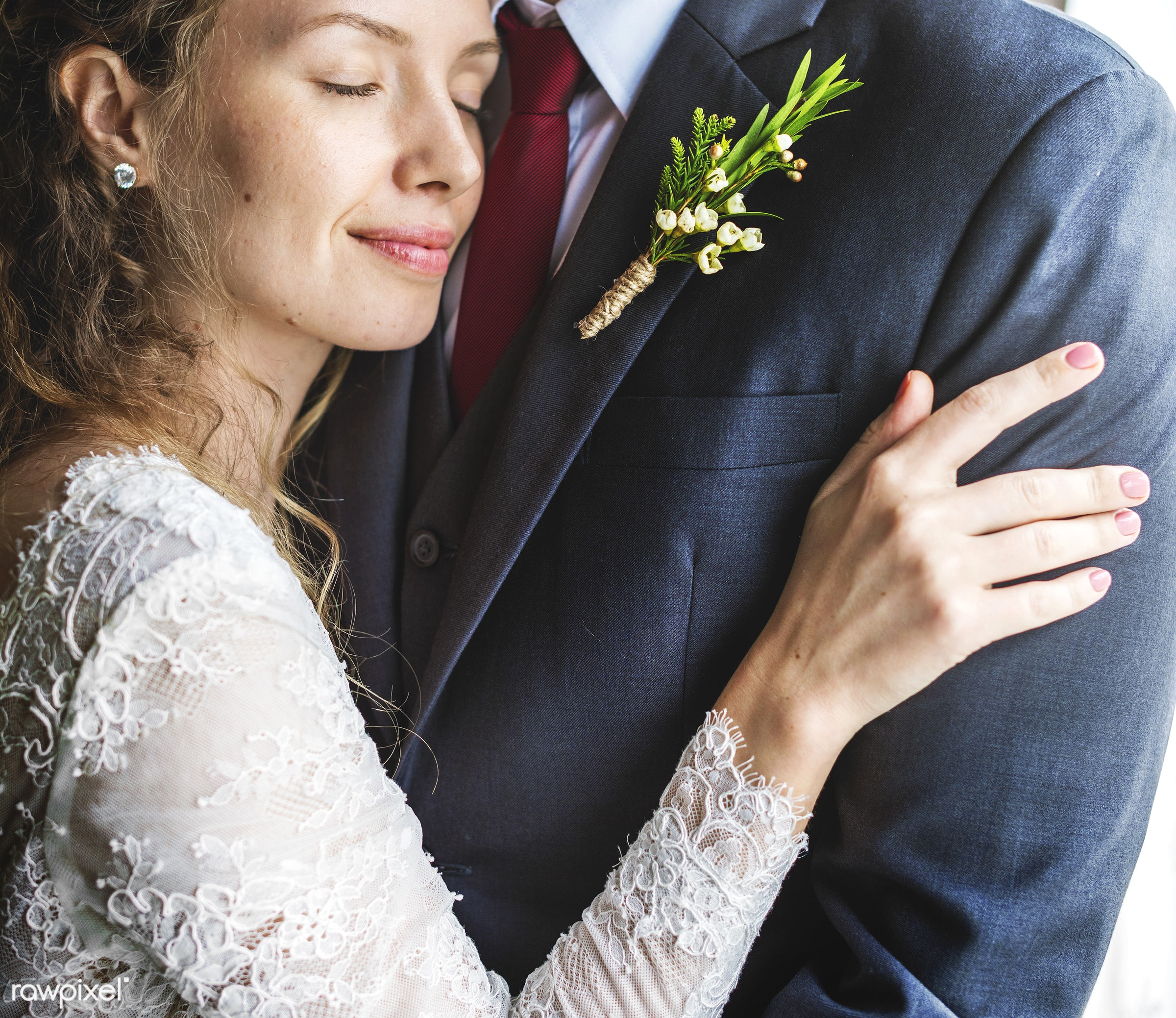 bouquet, person, hug, holding, tie, smitten, people, together, caucasian, glamour, love, woman, gown, flowers, cheerful,...