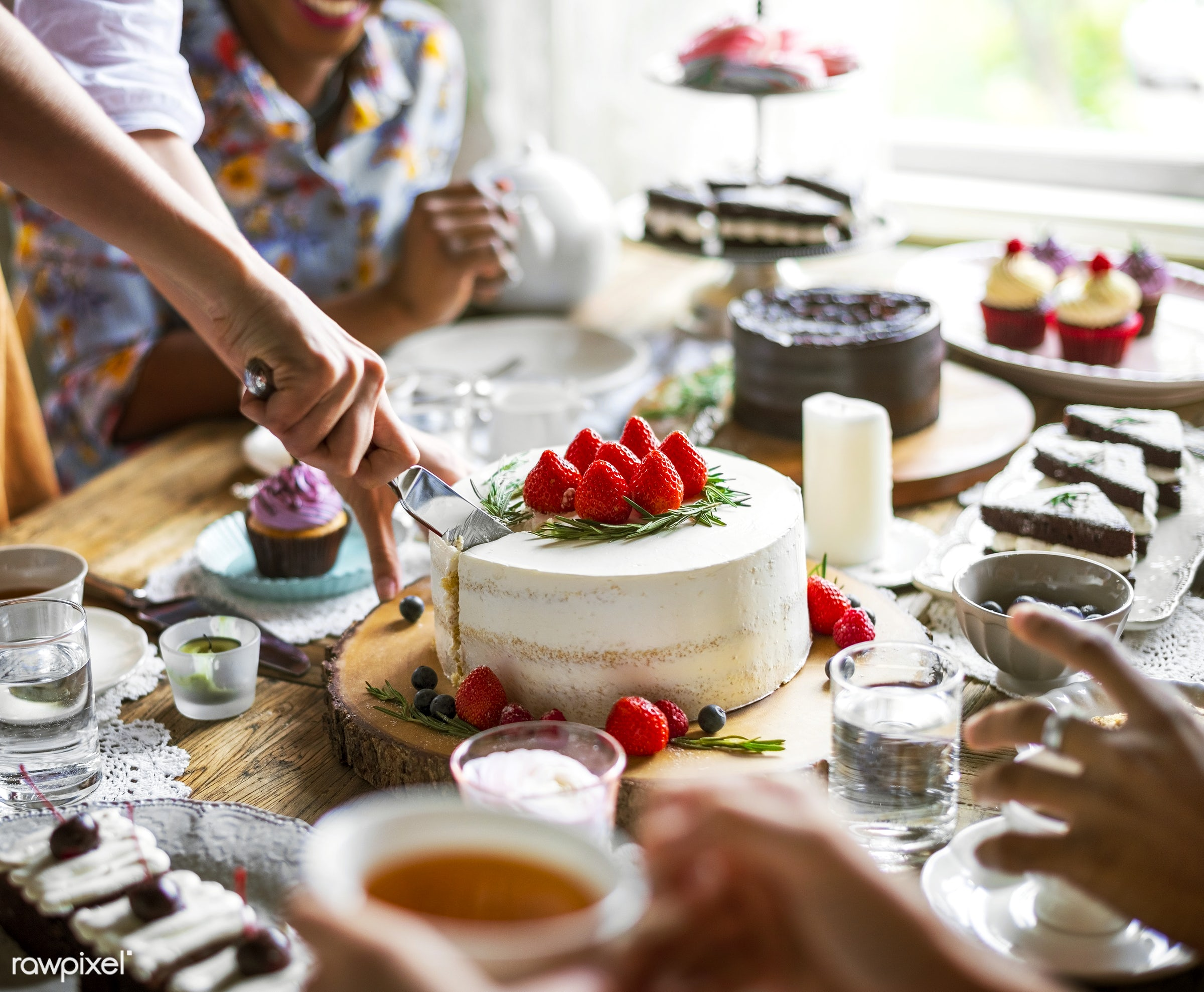 Friends Gathering Together on Tea Party Eating Cakes Enjoyment happiness - dessert, sweet, bakery, birthday, celebrate,...