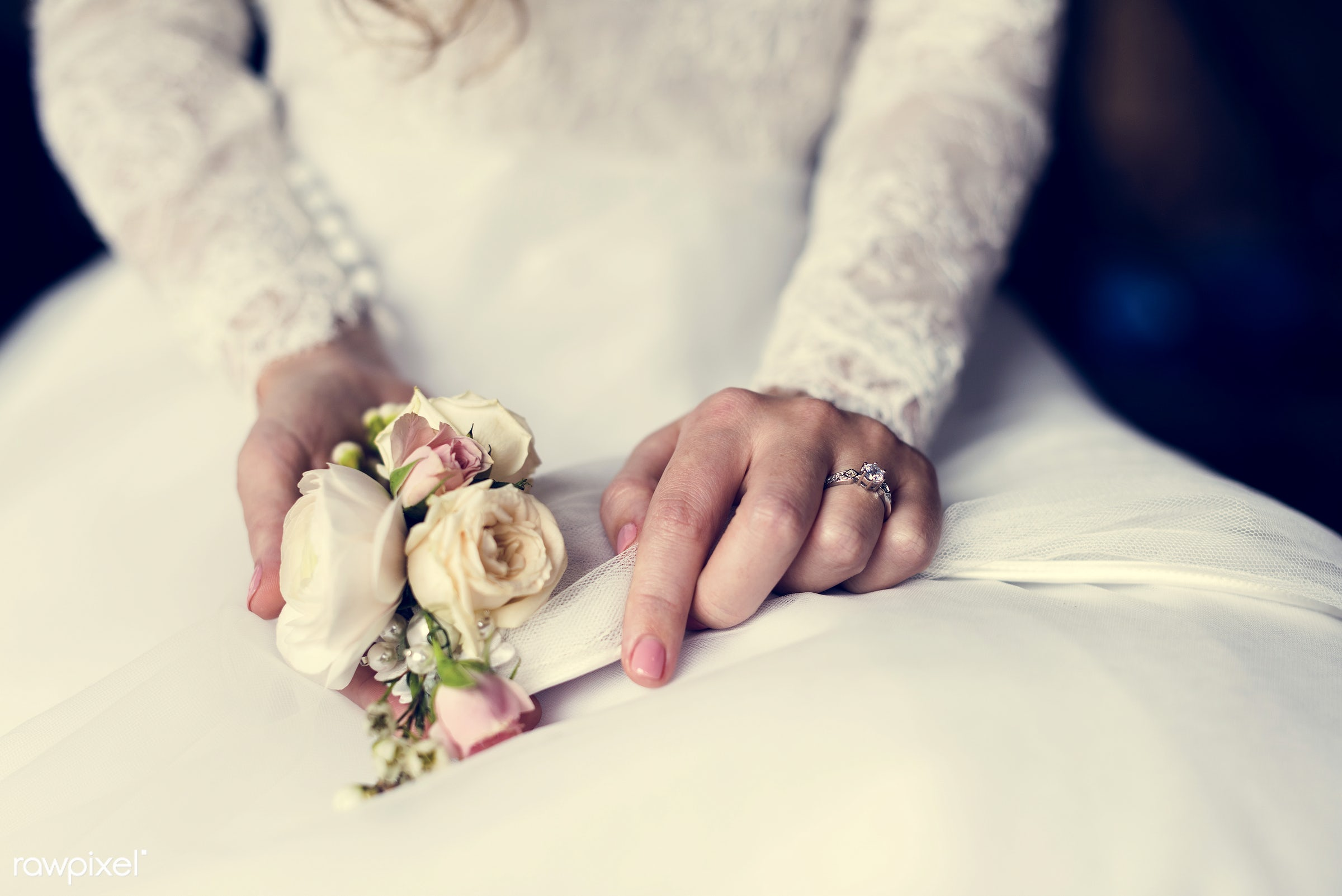 bouquet, person, holding, show, people, caucasian, glamour, love, woman, gown, flowers, cheerful, marry, ring, preparation,...
