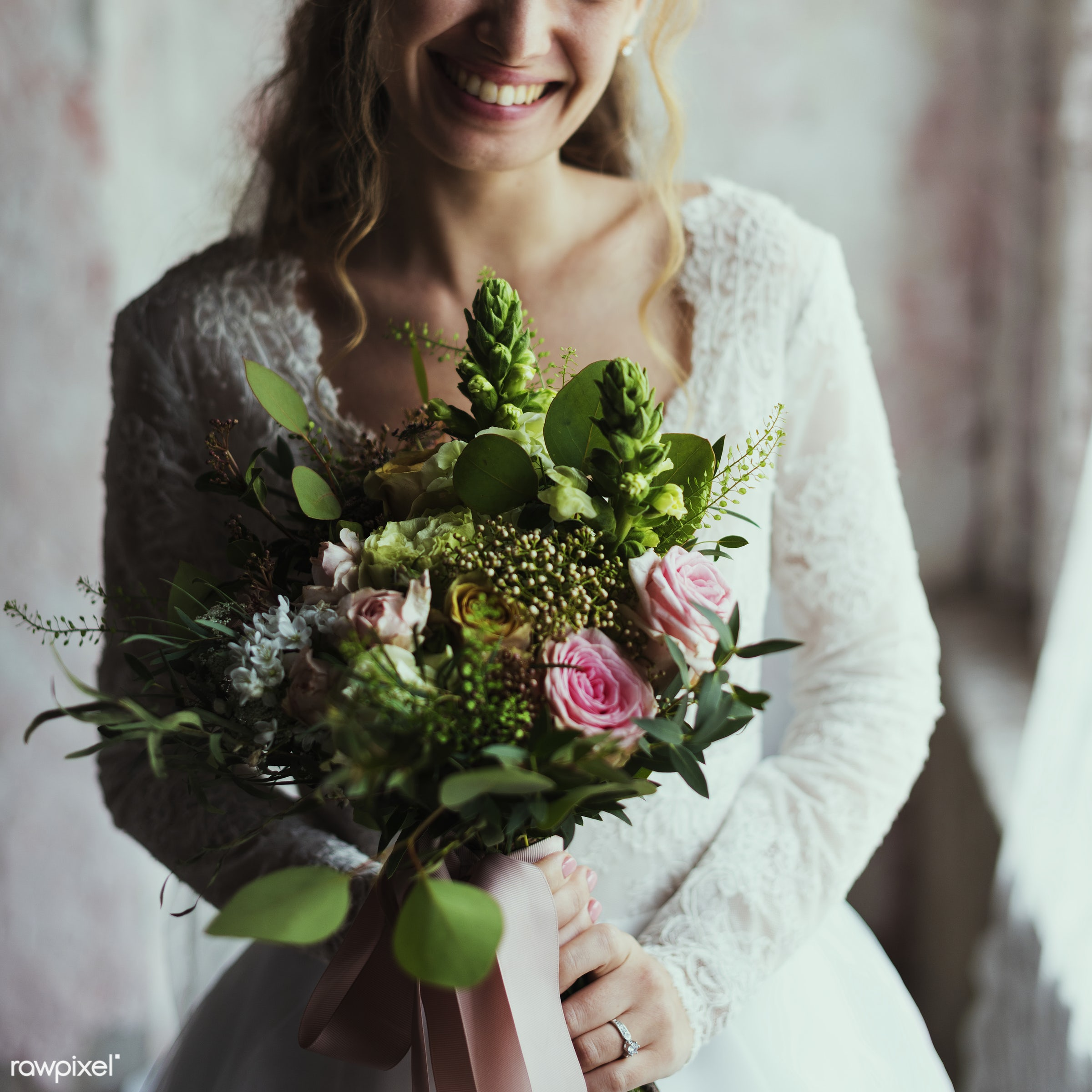 Attractive Beautiful Bride Holding Flowers Bouquet - wedding, bouquet, bridal, adult, attractive, beautiful, bride,...