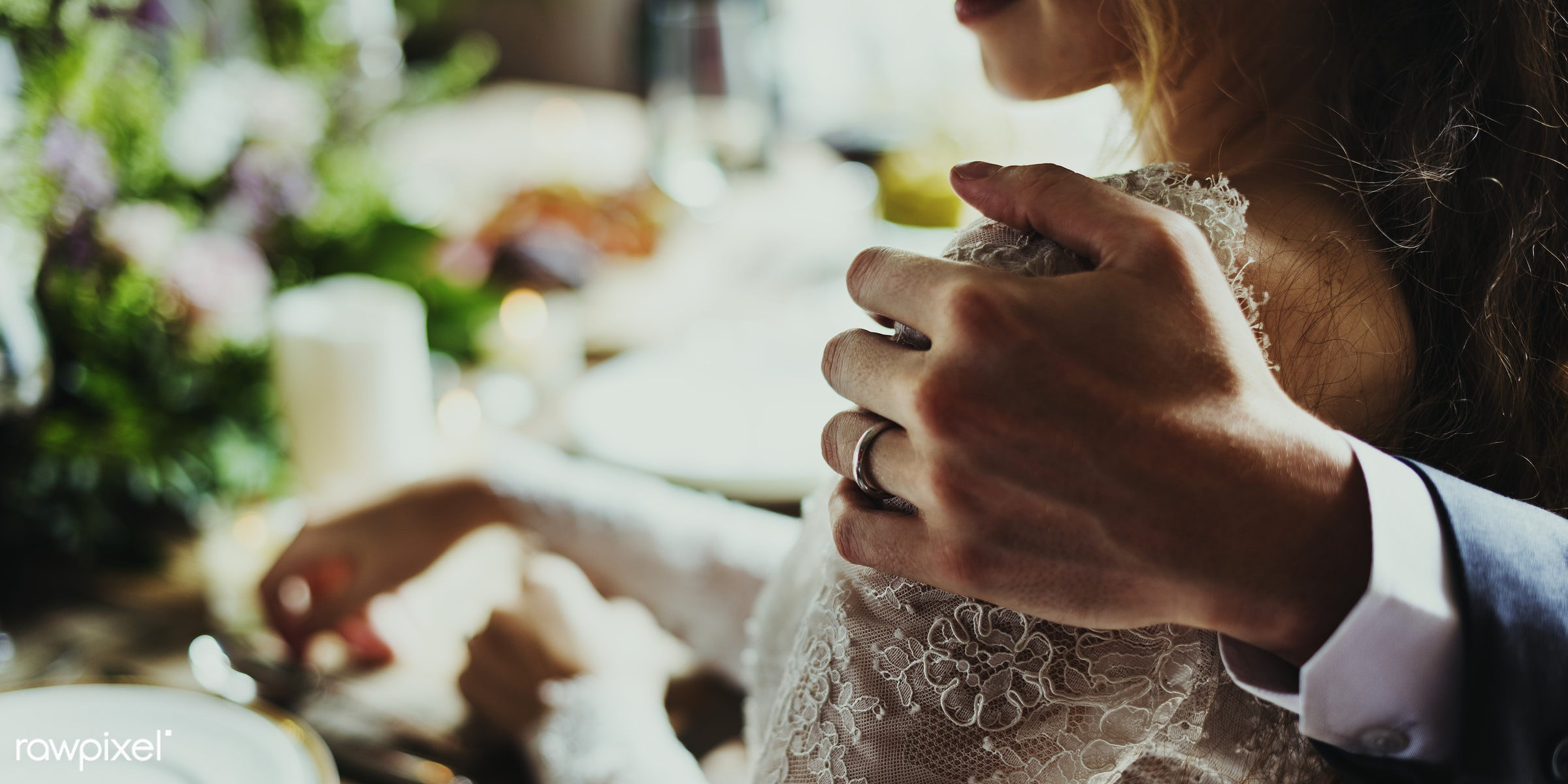 Groom Hand Holding Bride Closely on Wedding Reception - expression, person, hug, smitten, people, together, love, friends,...