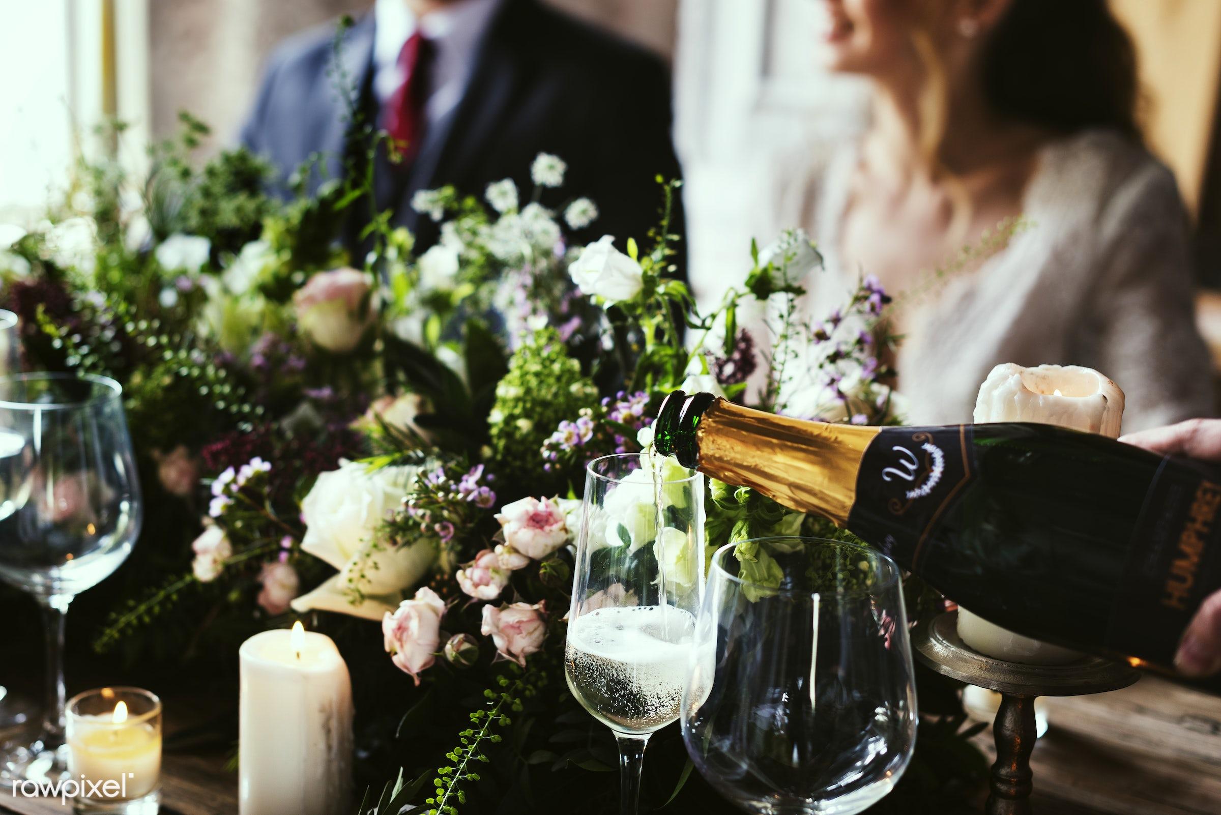 Restaurant Staff Poring Serving Wine to Customers - wedding, groom, adult, bridal, bride, celebrate, celebration, cheerful,...