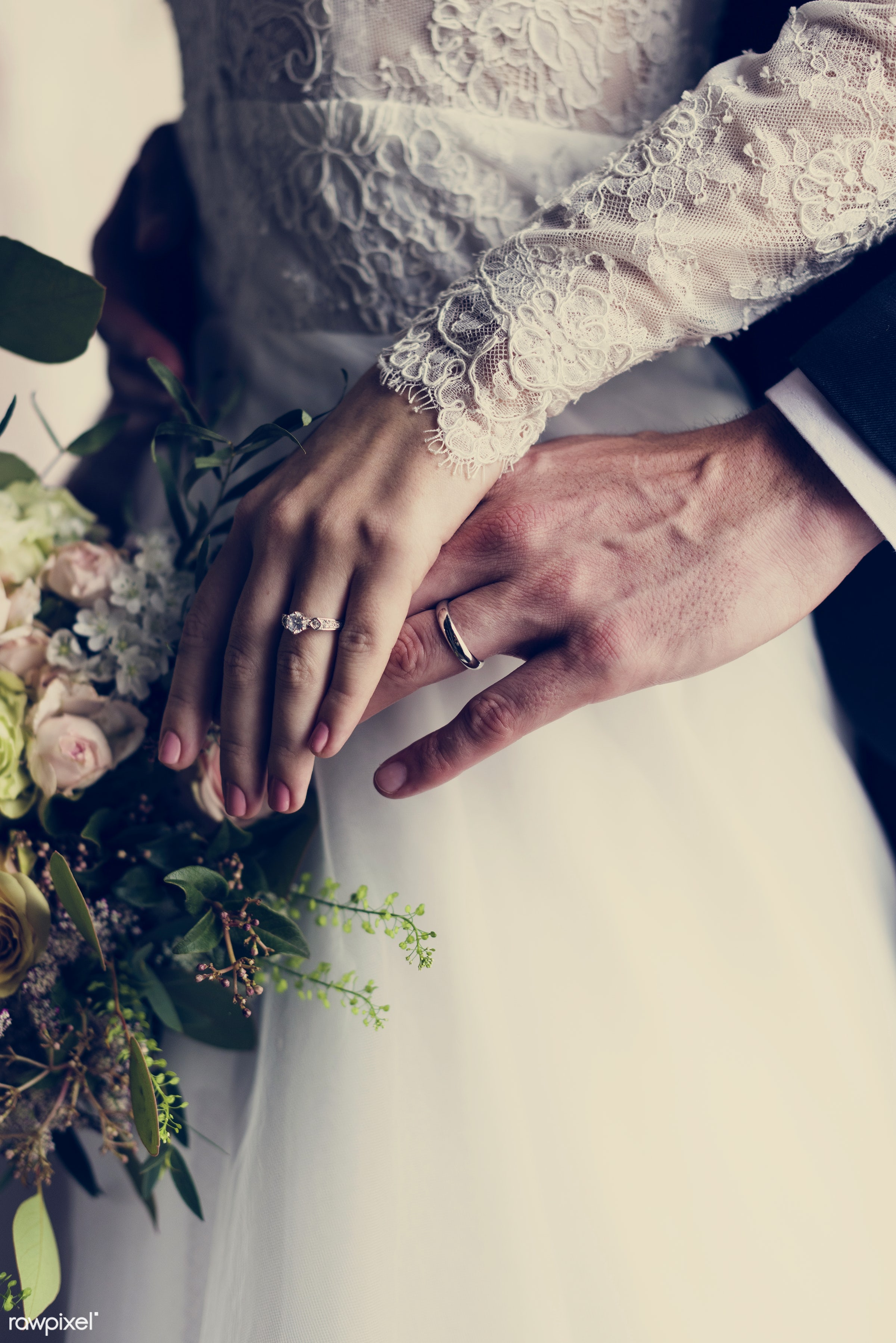 bouquet, person, hug, holding, show, smitten, people, together, caucasian, glamour, love, woman, on, rings, gown, cheerful,...