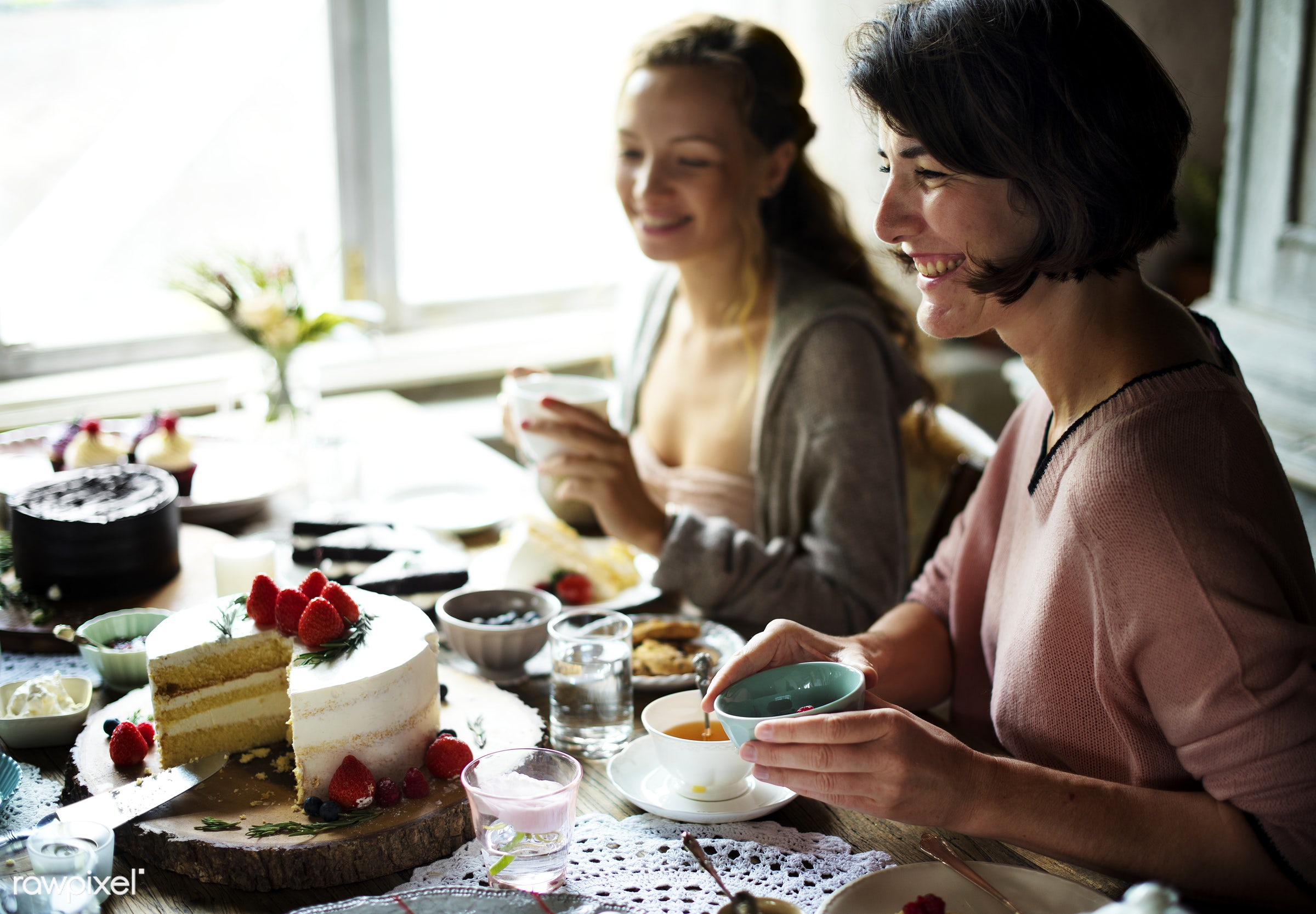 Friends Gathering Together on Tea Party Eating Cakes Enjoyment happiness - dish, person, recipe, party, tea, people,...