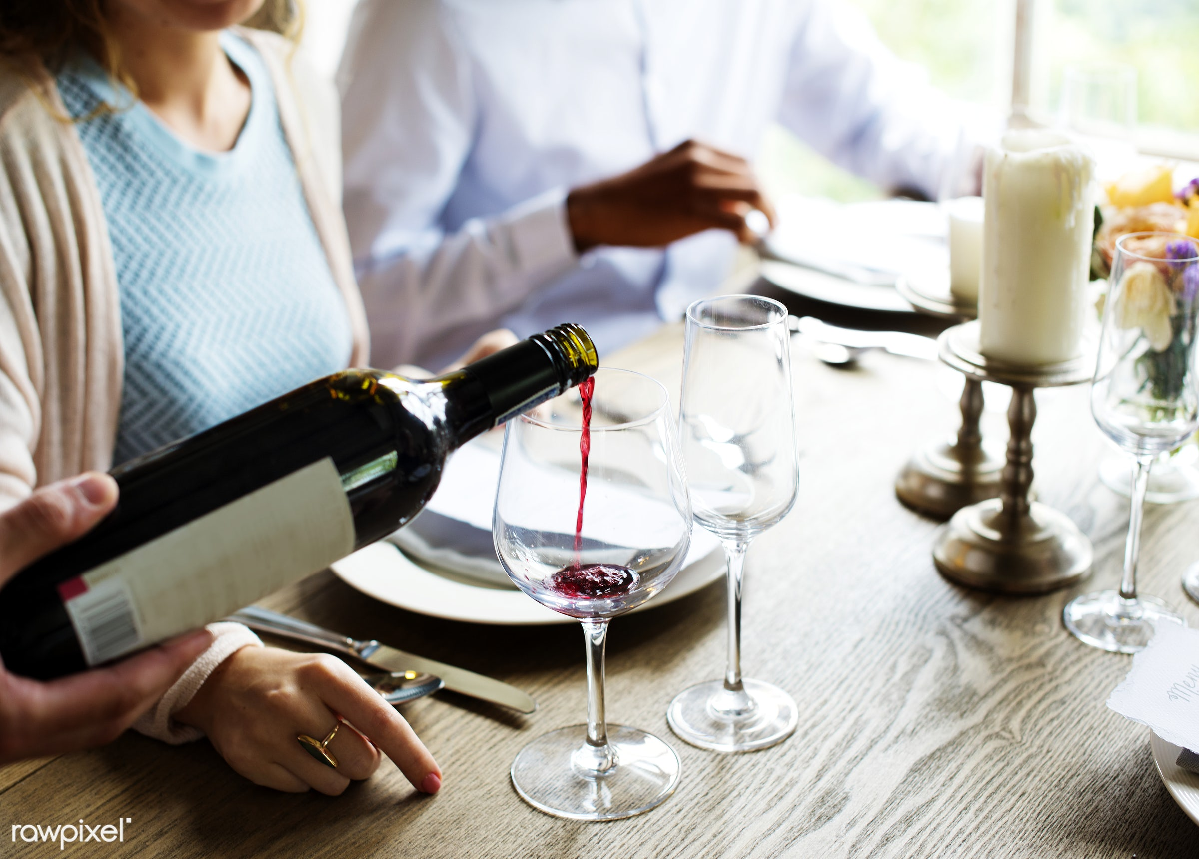 Waiter Poring Serving Red Wine to Customers in a Restaurant - service, tasting, adult, alcohol, beverage, bottle, chardonnay...