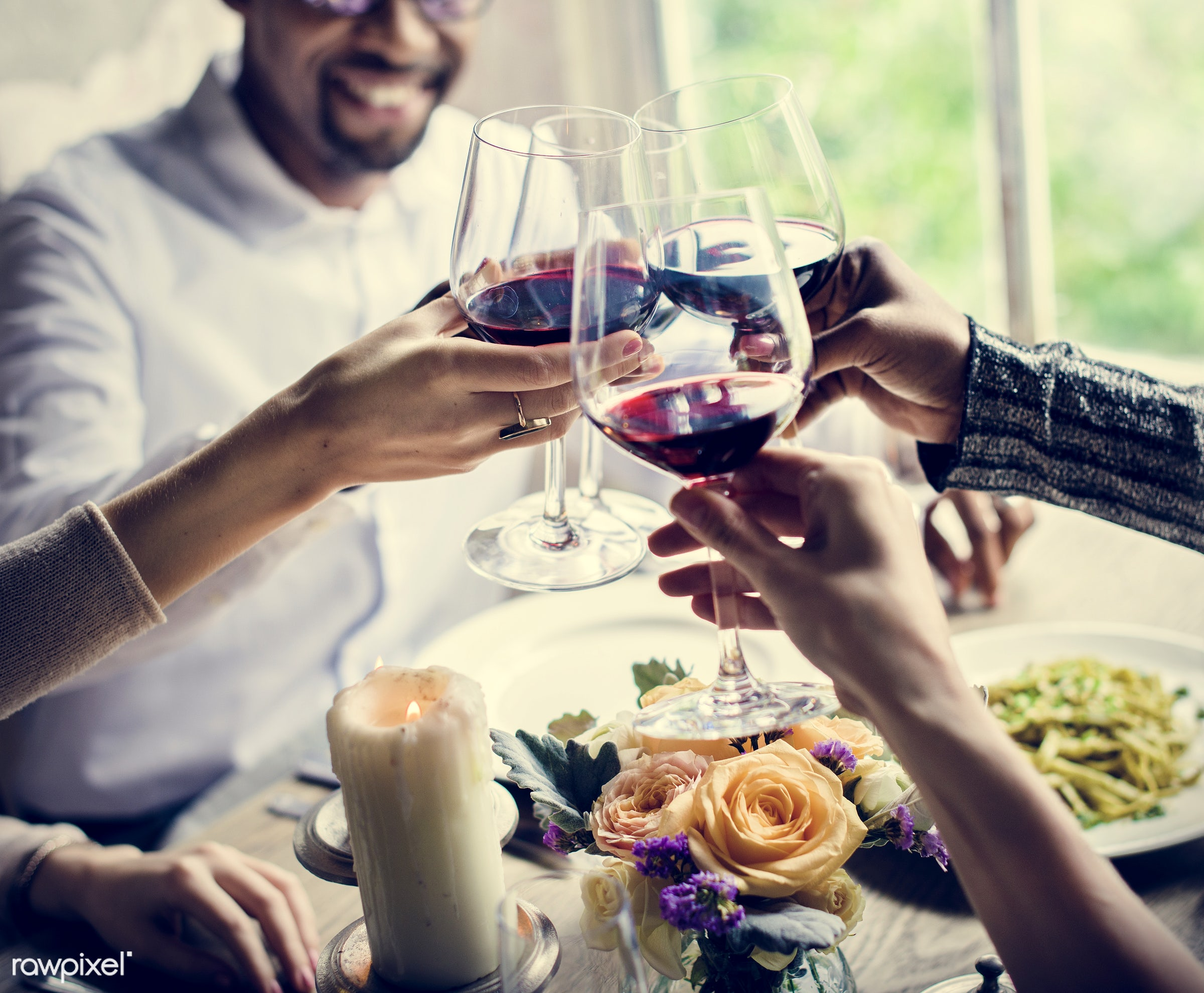 expression, person, cuisine, people, dished, together, caucasian, friends, gather, woman, drink, candles, friendship, lunch...