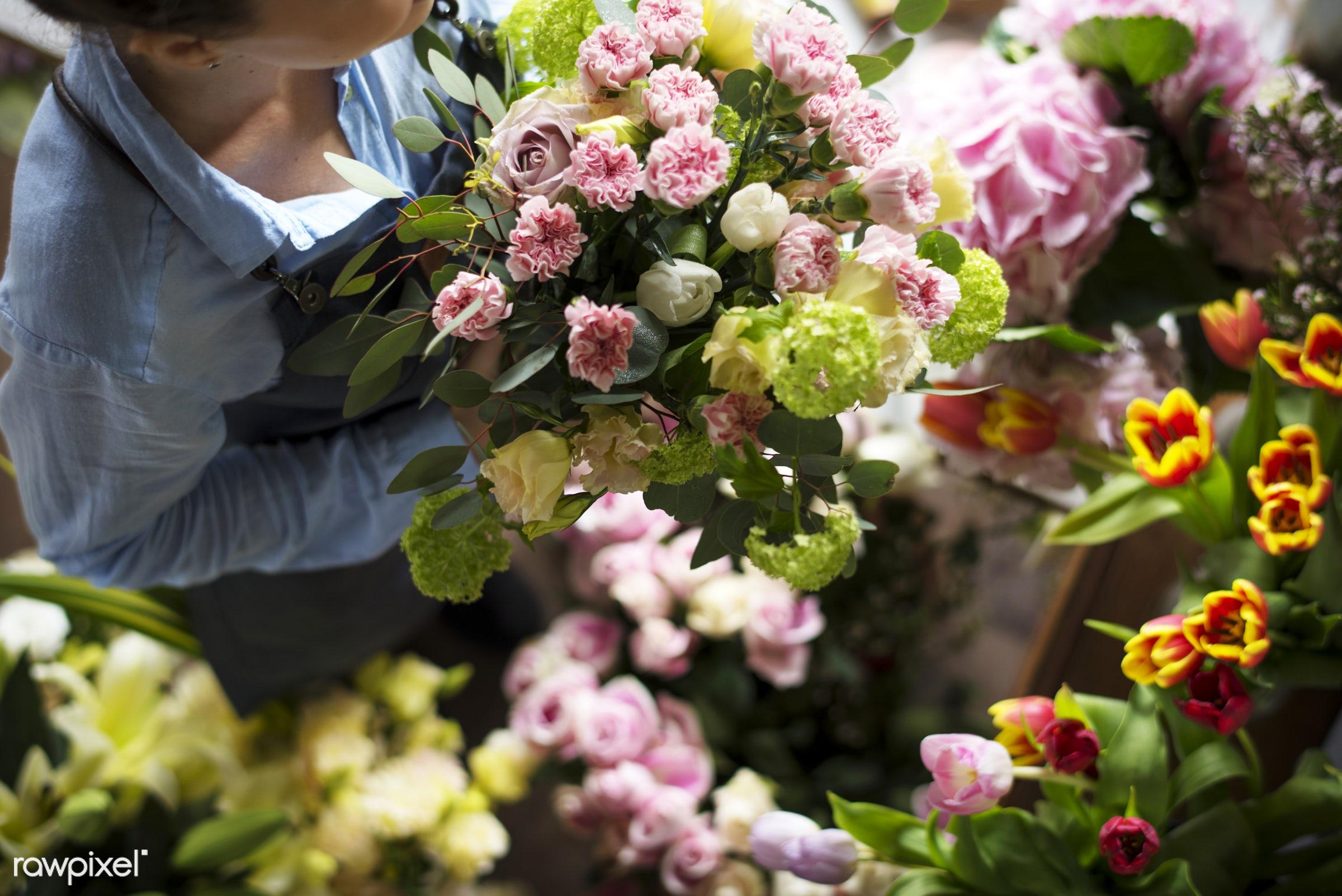 Close up florist flower arrangement skill - hobby, flower, florist, arrangement, decoration, skill, art, workshop, bouquet,...