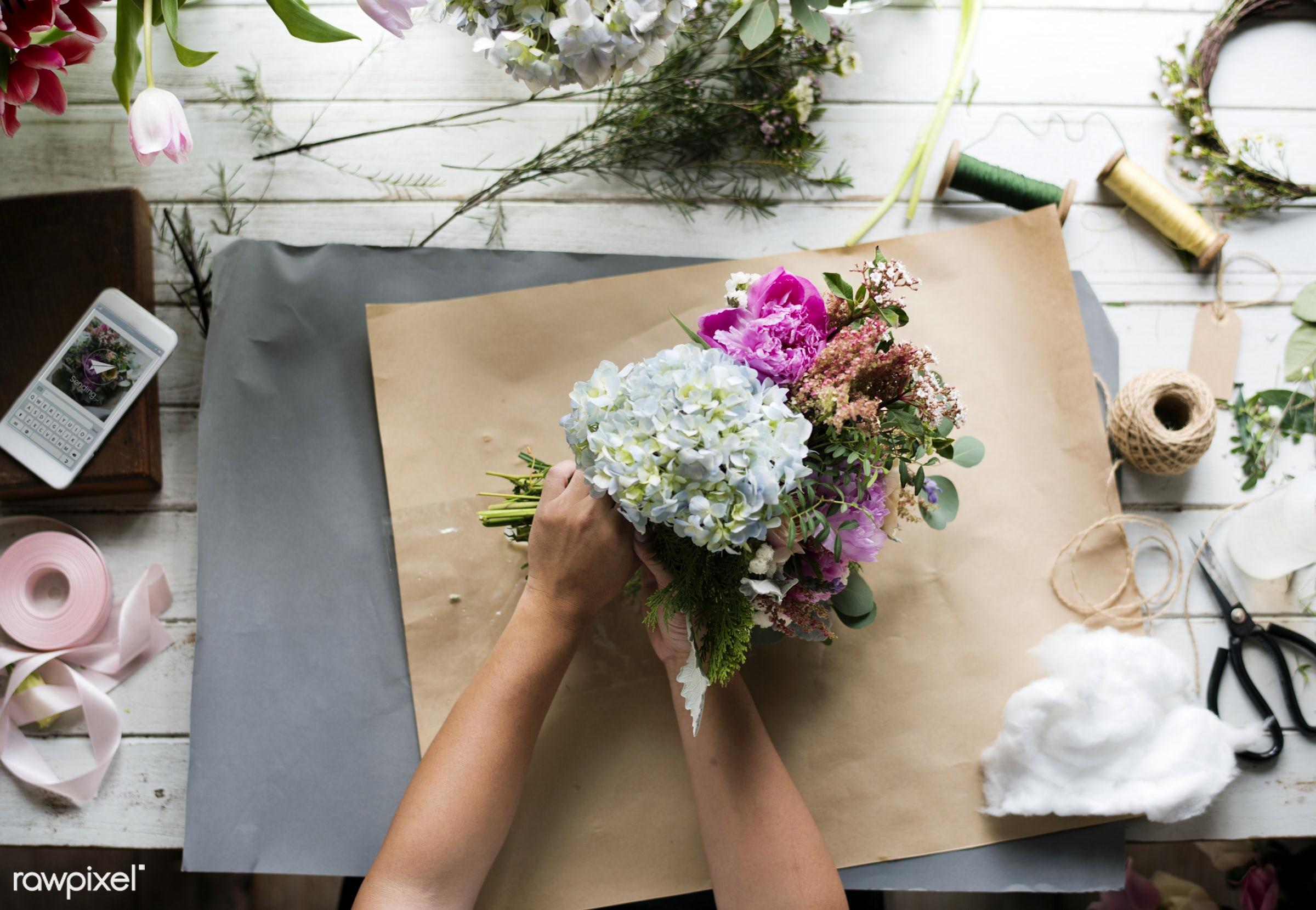 Florist job flower arrangement - flowers, florist, job, occupation, arrangement, decoration, real, fresh, art, skill,...