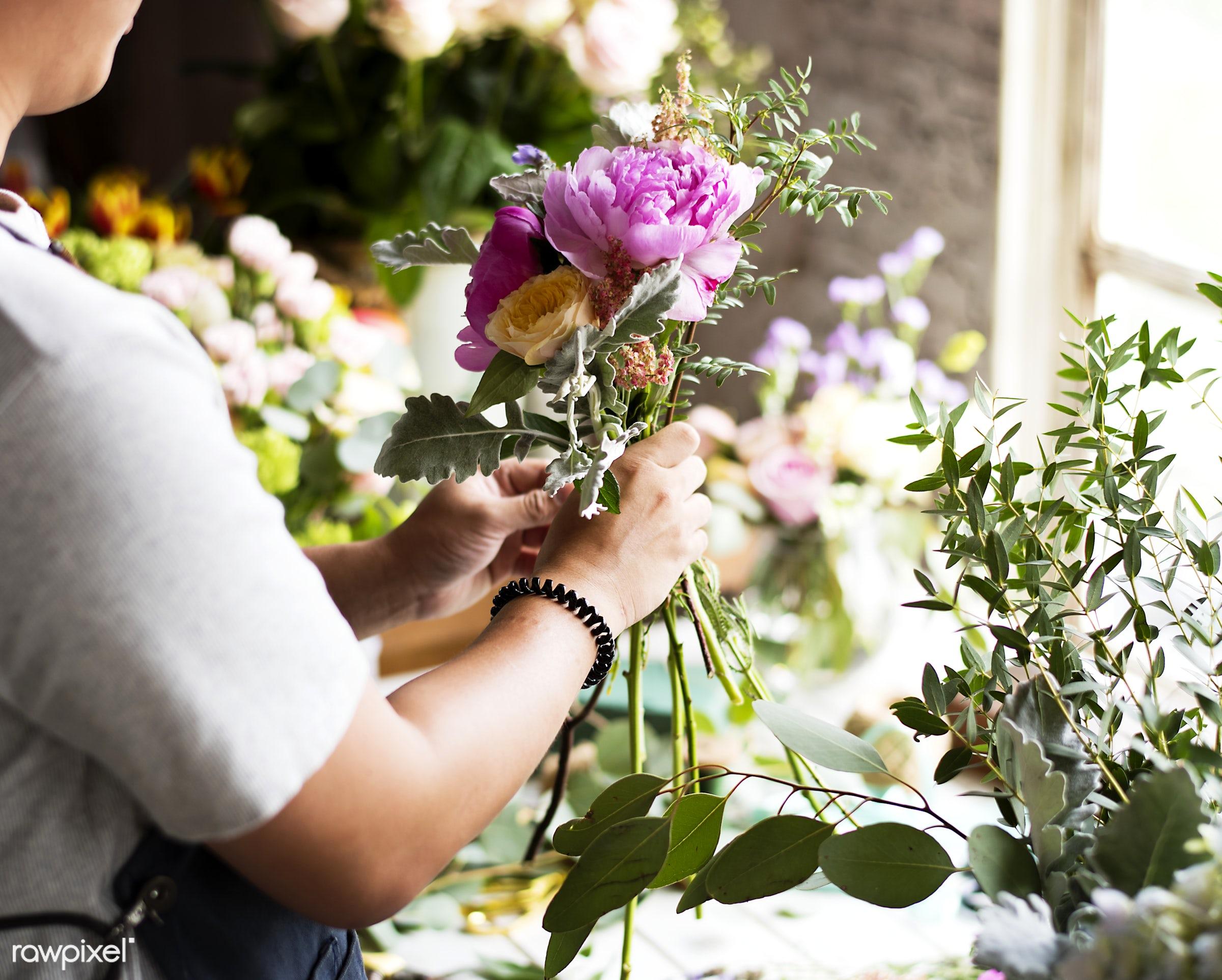 Close up florist flower arrangement skill - flower, florist, arrangement, decoration, skill, art, business, hobby, design,...