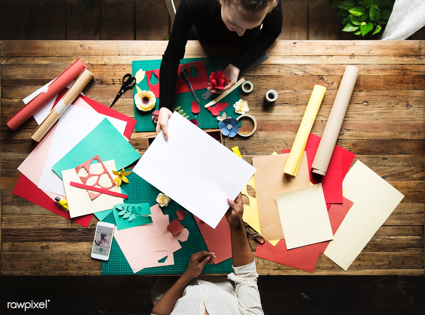 Download Premium Photo Of Aerial View Of Messy Paper Craft Work Table