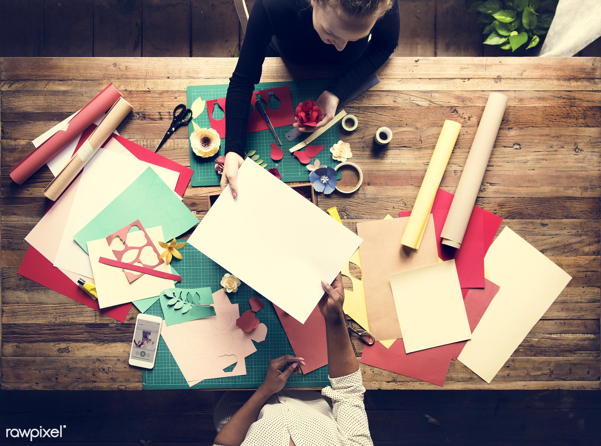 person, craft, colorful, handicraft, leaf, people, creativity, together, help, hands, making, do, working, aerial view,...