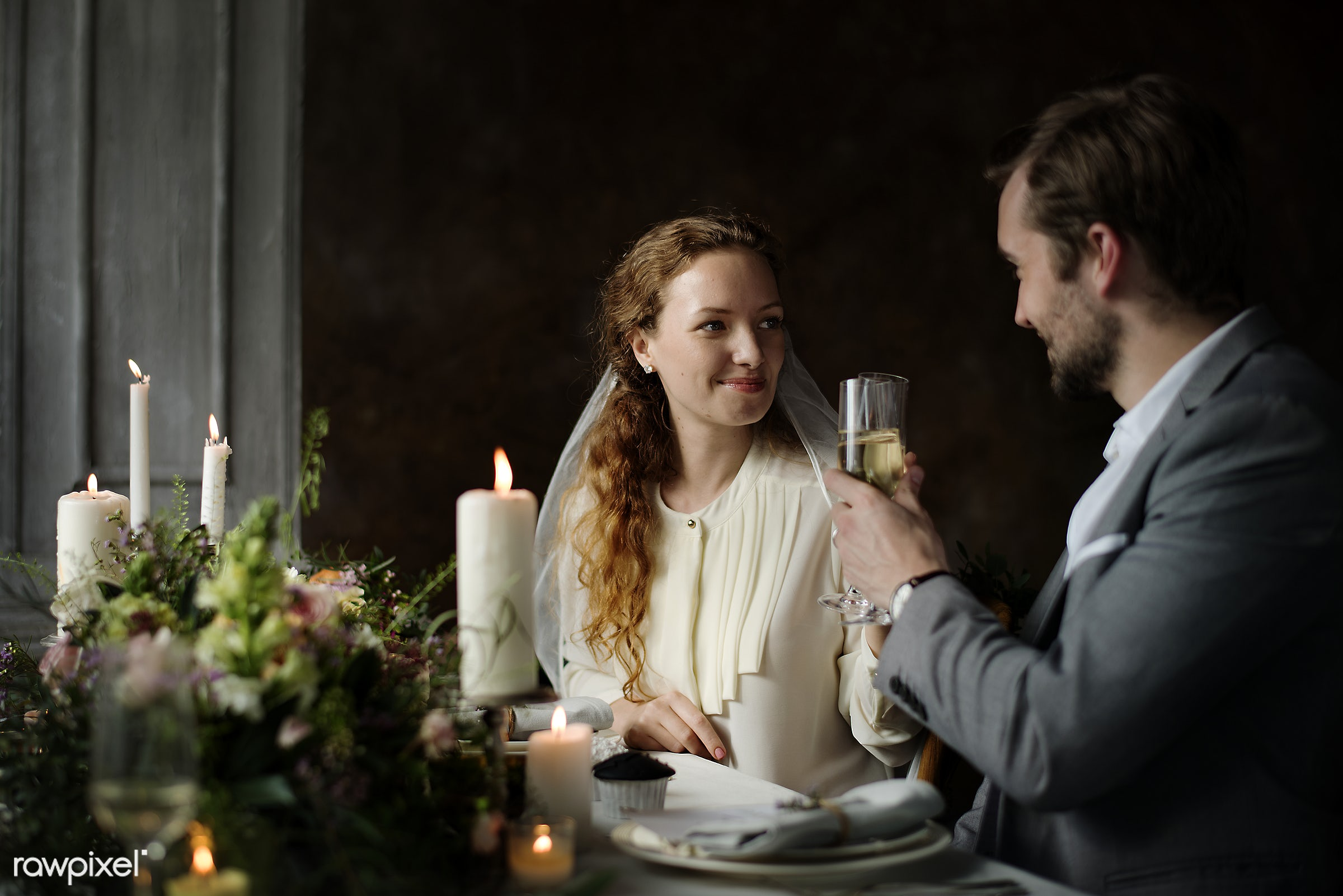 Couple at the wedding day reception table - couple, partners, married, marriage, wedding, celebration, event, table,...