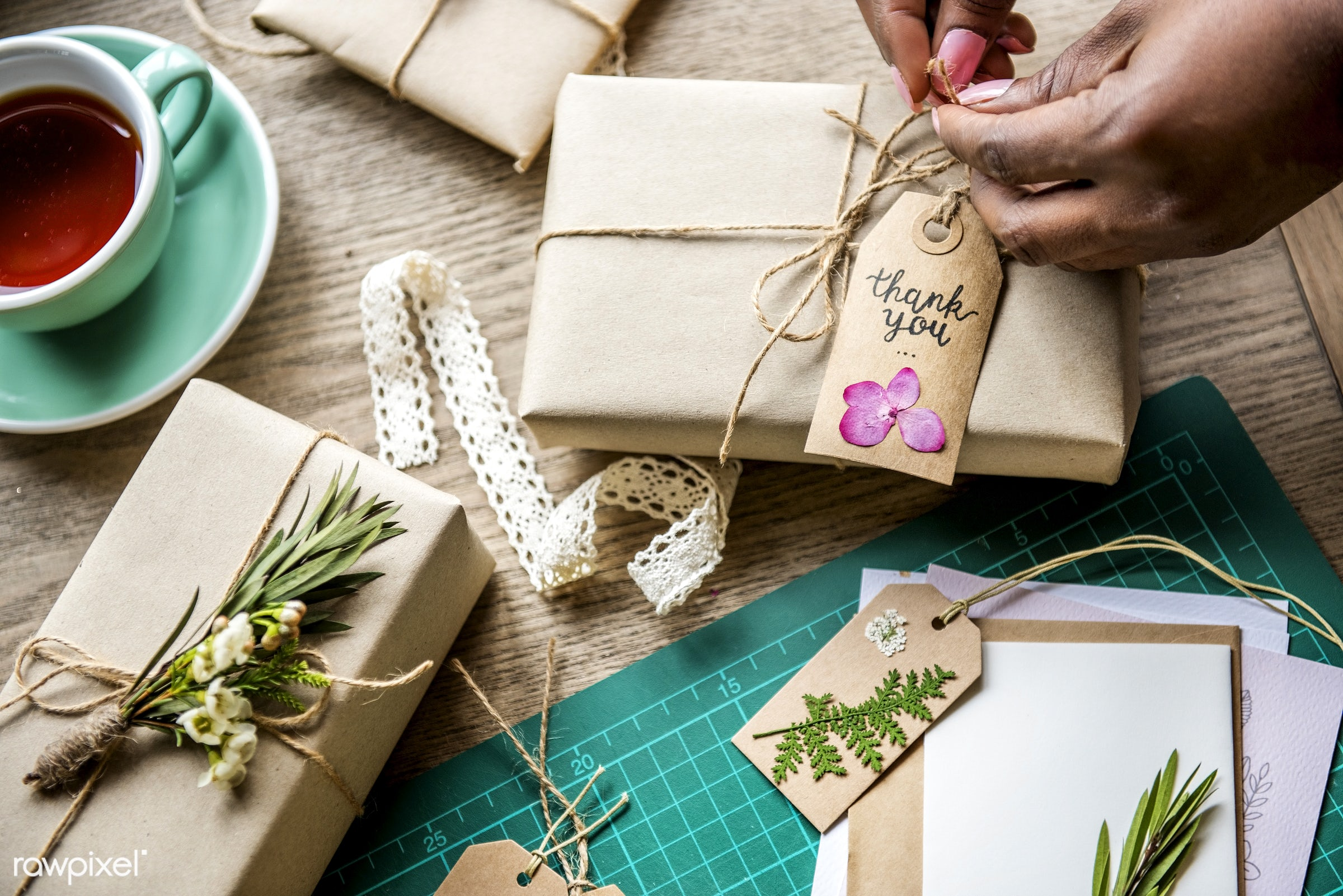 thank you, craft, tag, pack, decor, nature, rope, artsy, interest, ribbon, card, working, flower, option, work station, wrap...