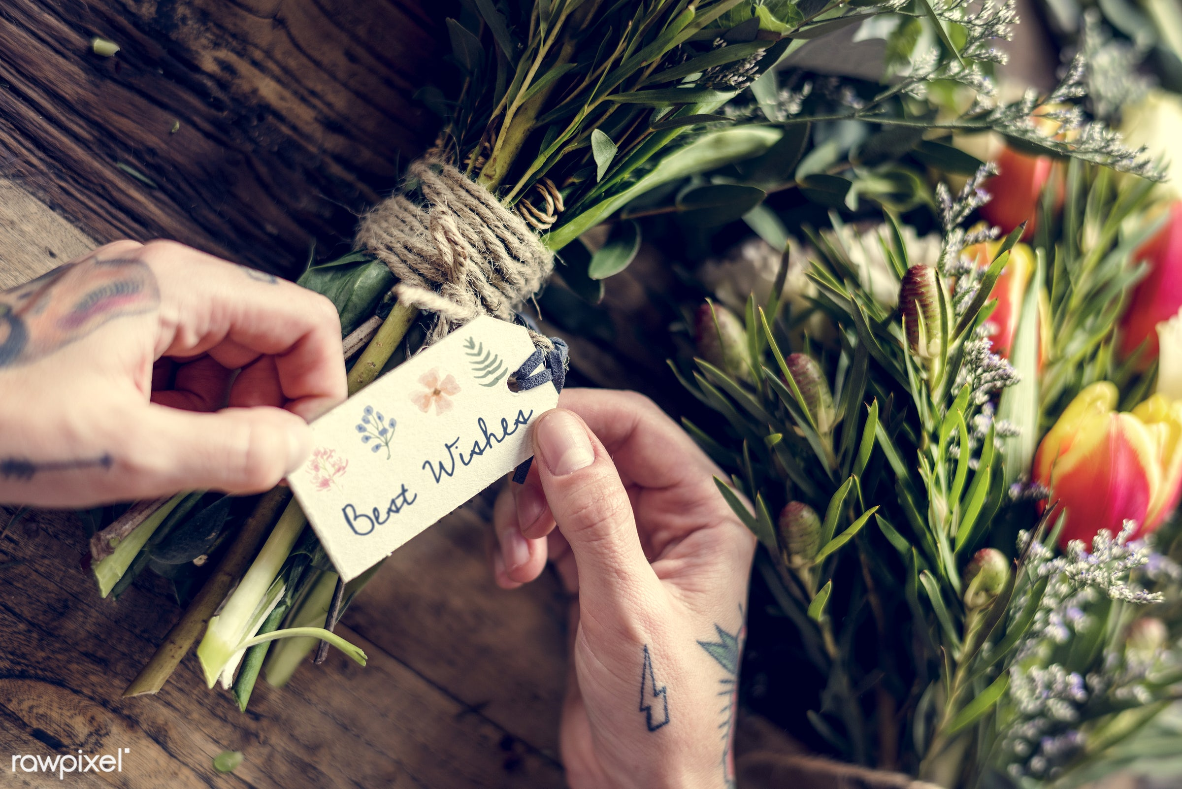 bouquet, shop, detail, person, wish, tag, people, decor, nature, woman, tattoo, flowers, work, refreshment, florist, present...