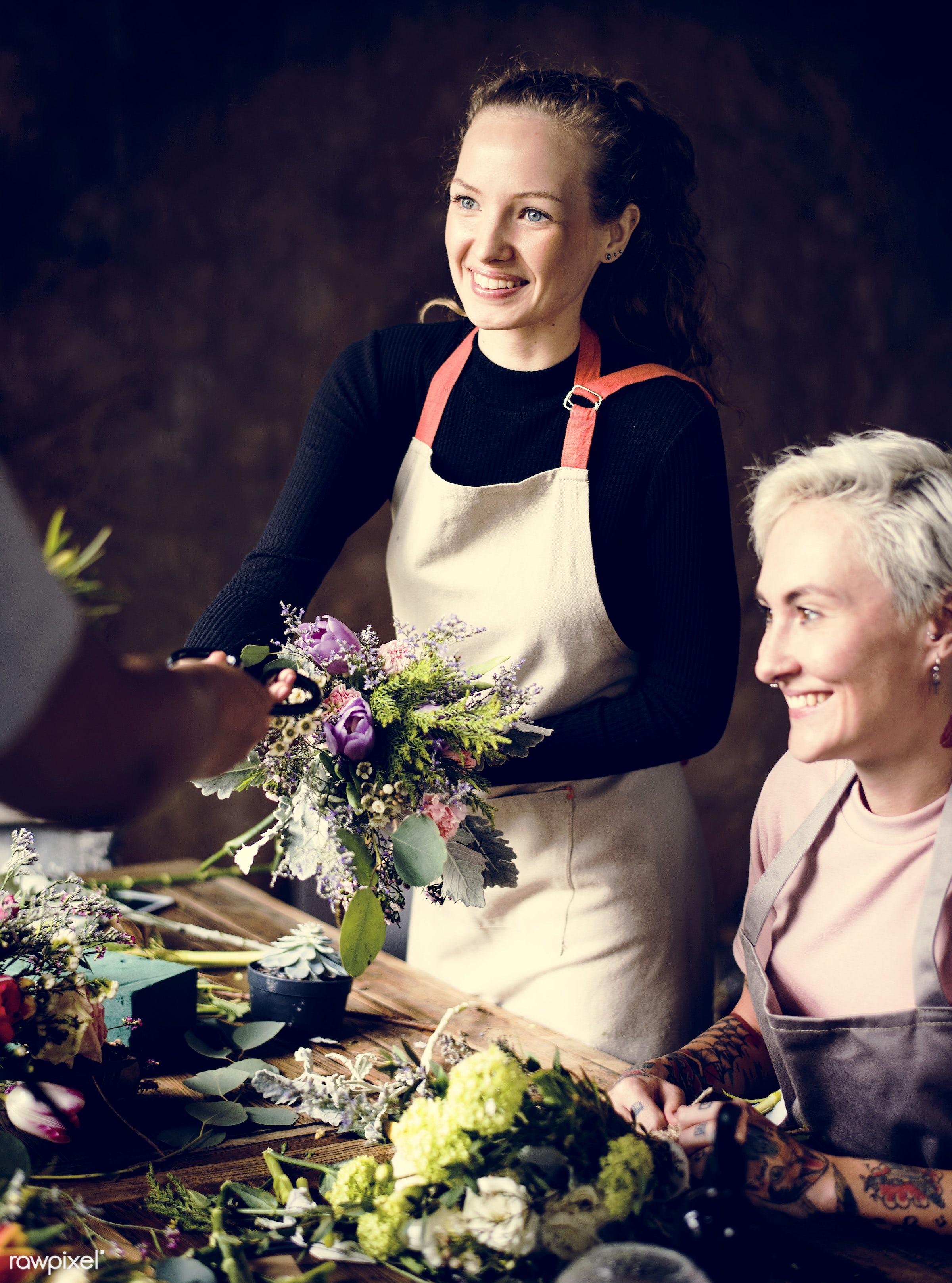 shop, bouquet, detail, person, people, decor, nature, flowers, work, hold, refreshment, career, florist, present,...