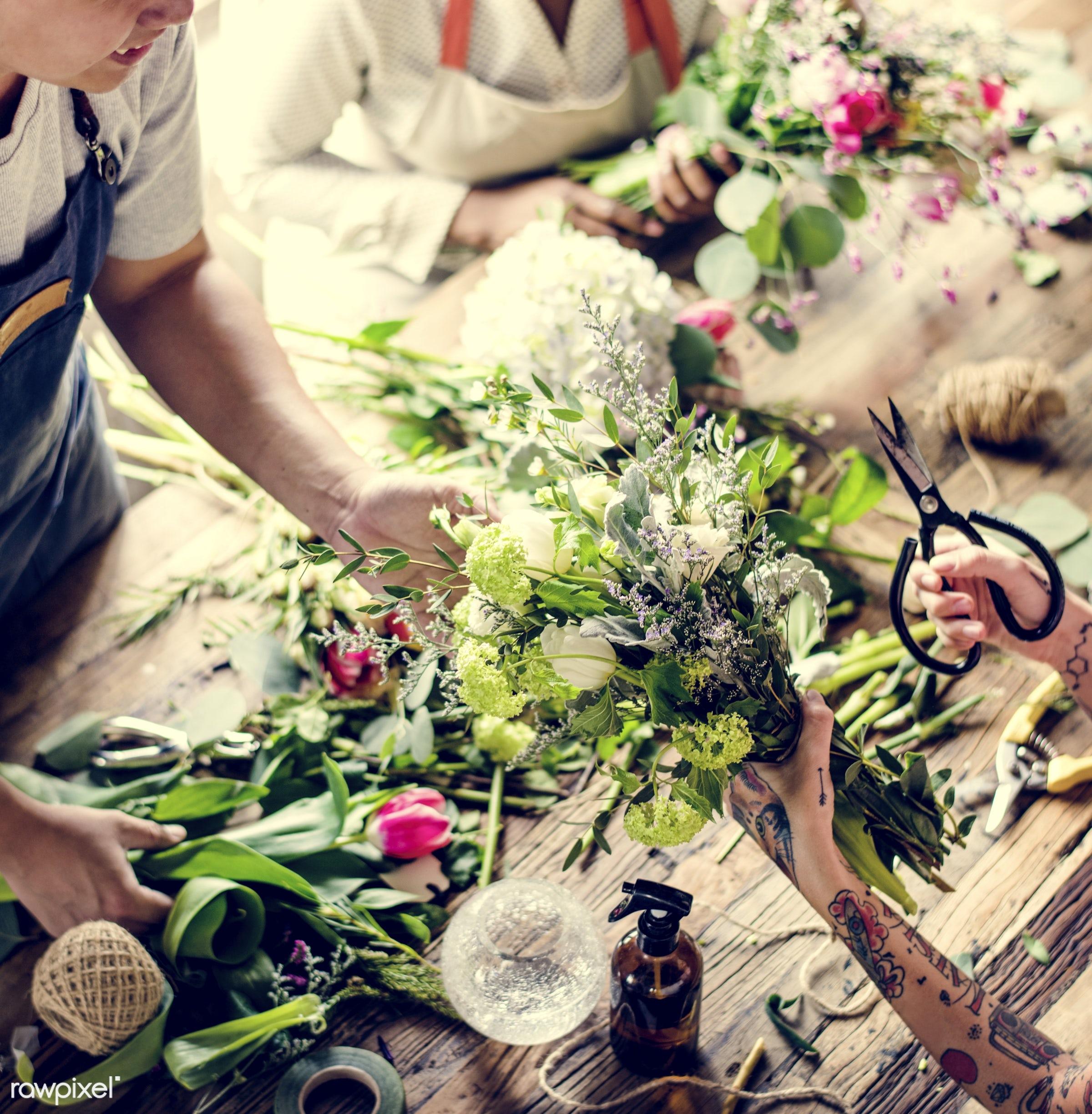 bouquet, shop, detail, person, hydrangea, people, decor, nature, woman, tattoo, flowers, work, refreshment, florist, present...