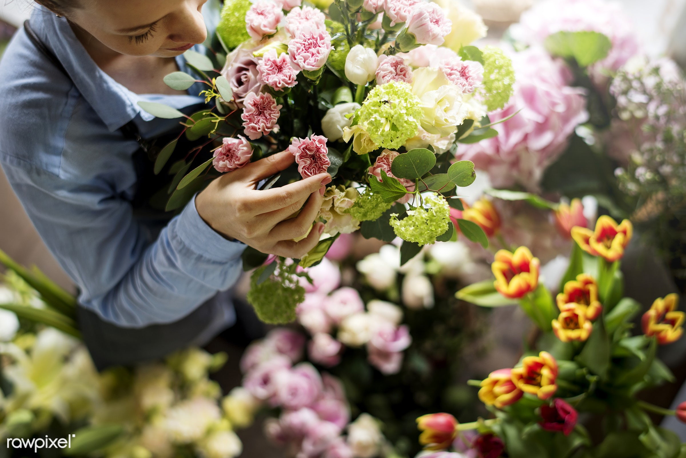 Close up florist flower arrangement skill - flower, florist, arrangement, decoration, skill, art, hobby, design, fresh, real...