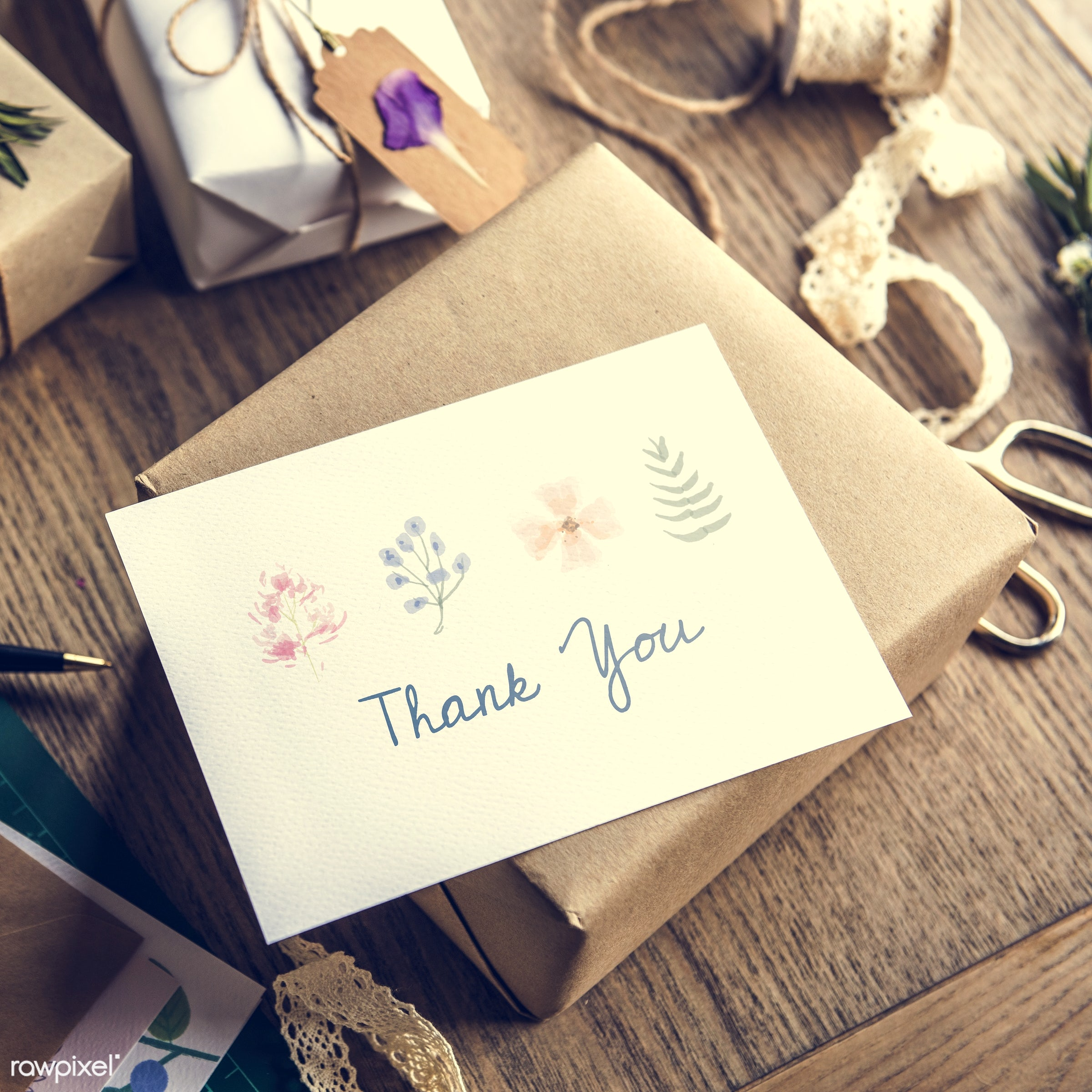 thank you, craft, person, wrapped, wish, handicraft, show, people, dried, rope, ribbon, action, card, flowers, flower, wrap...