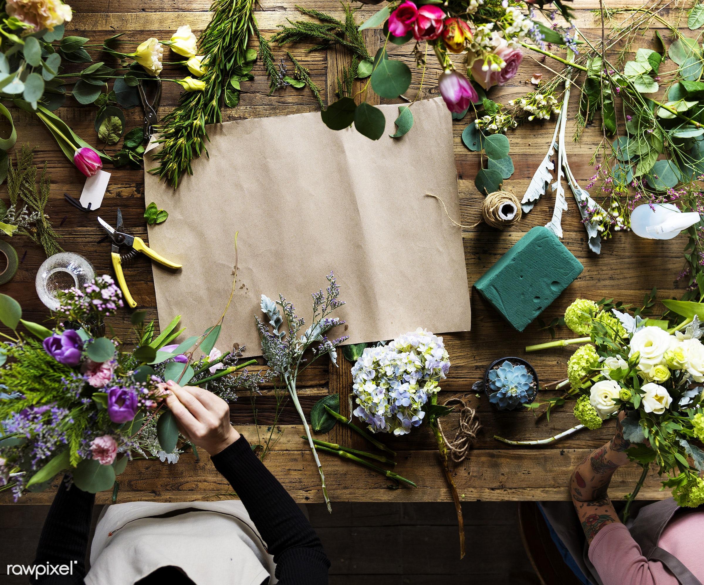 Florist job flower arrangement and decoration - workshop, art, skill, bouquet, hobby, aerial view, table, arrangement,...