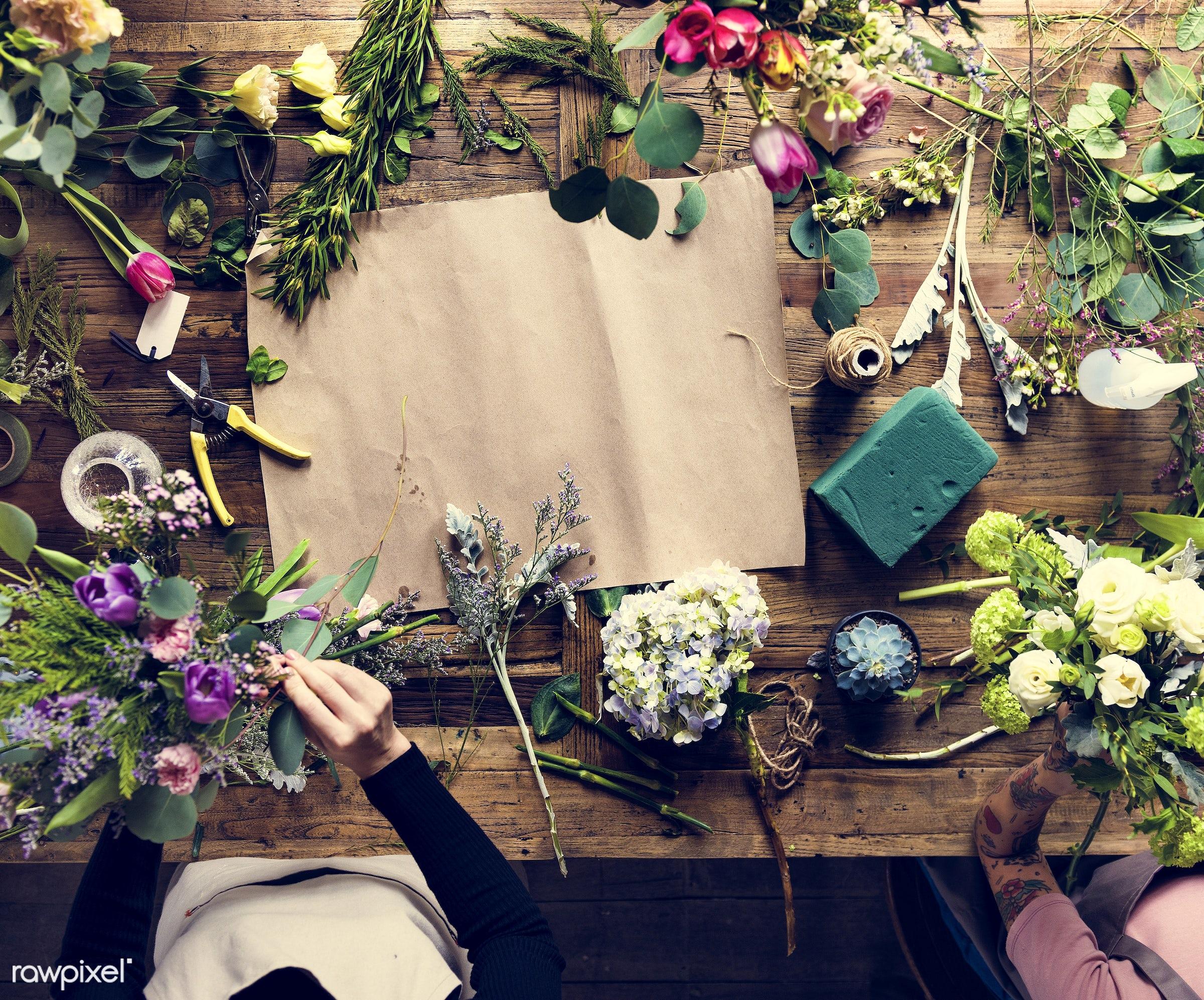craft, handicraft, show, rustic, rope, nature, ribbon, empty, flowers, creative, art, carnation, hobby, table, florist,...