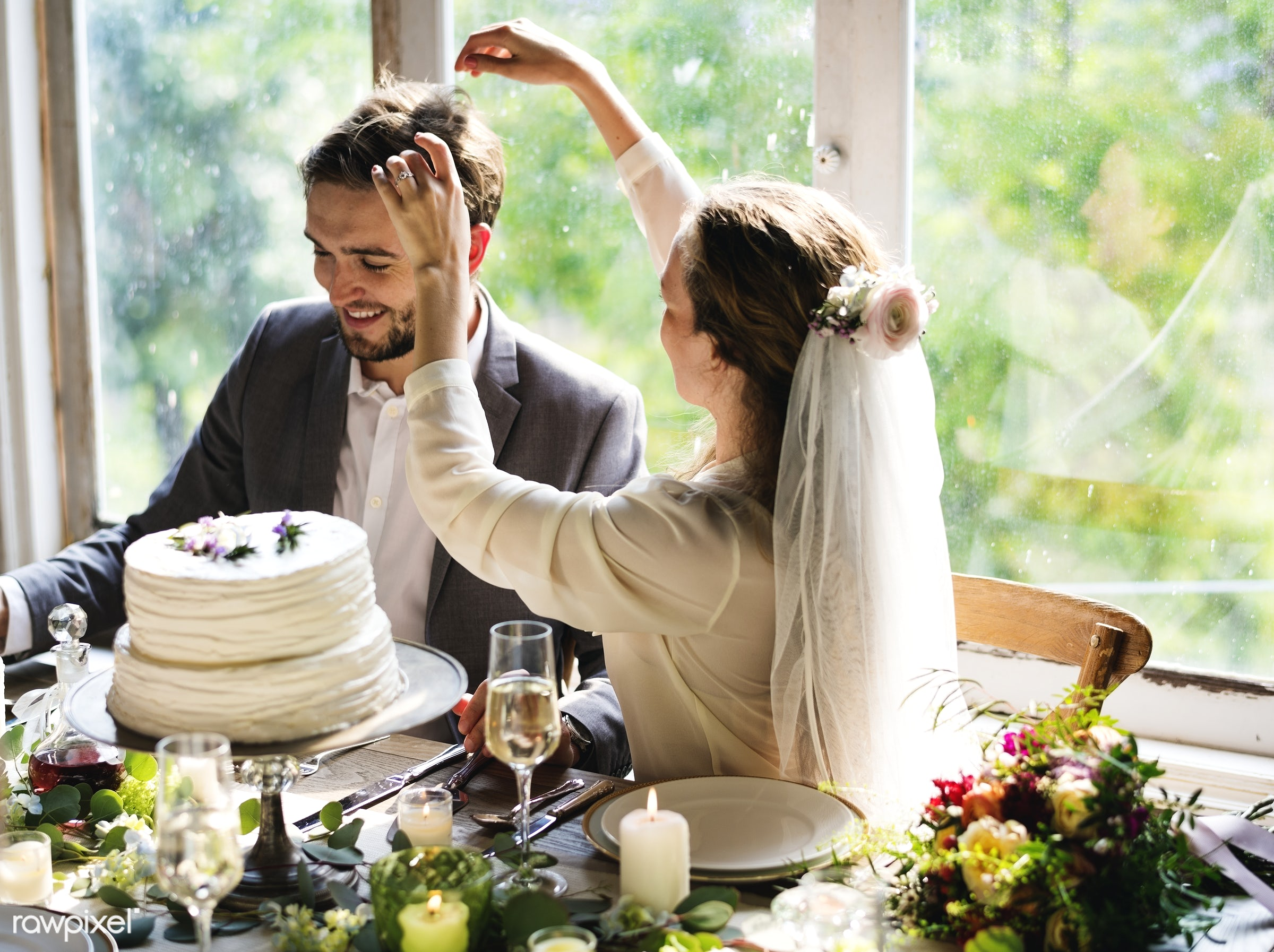 Bride playing with groom's hair at reception table - alcohol, bride, celebration, champagne, couple, drinking, event, groom...