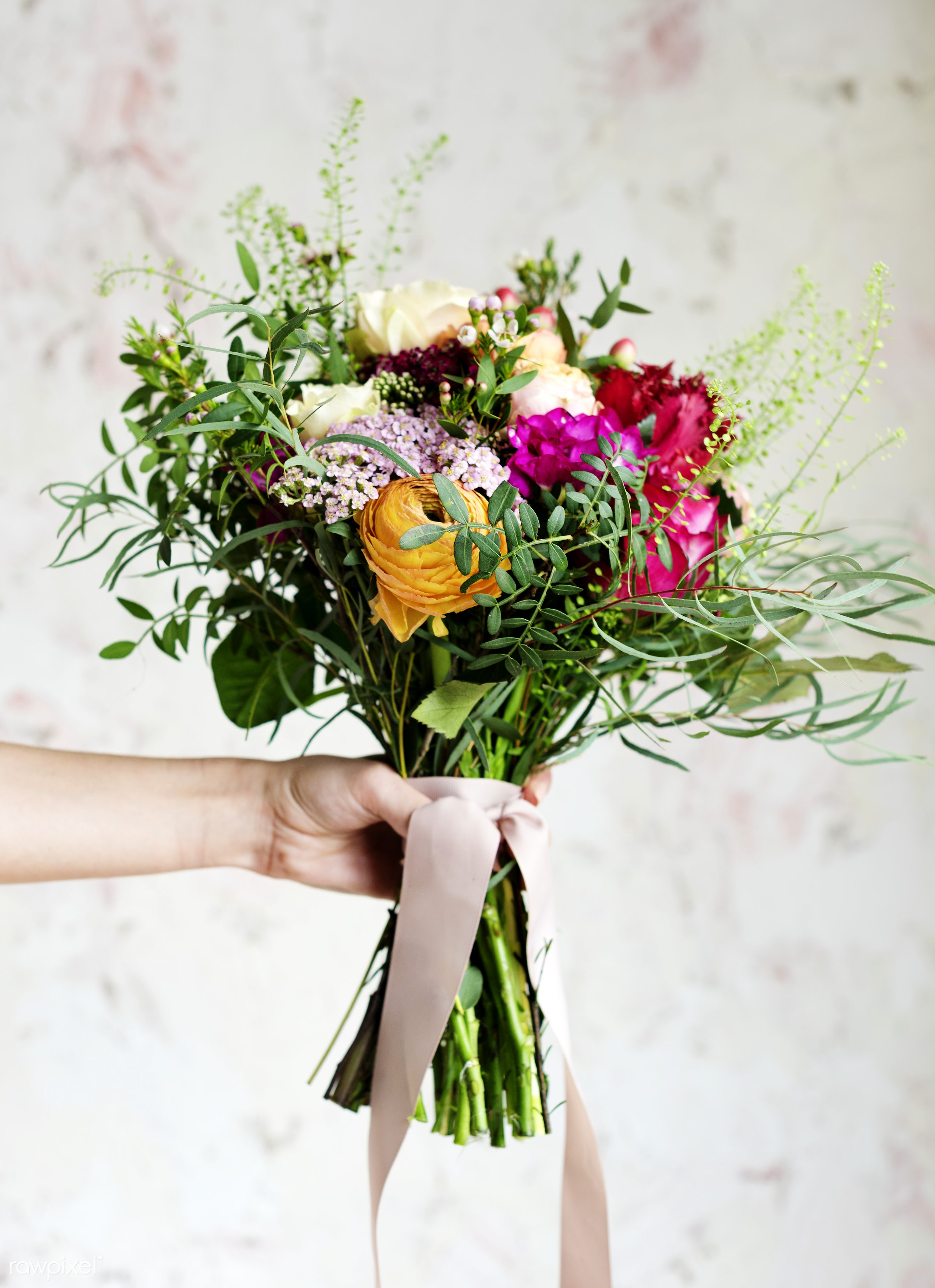 Hand holding beautiful bouquet of flowers - arrangement, beautiful, bouquet, bunch, floral, flowers, fresh, hands, holding,...