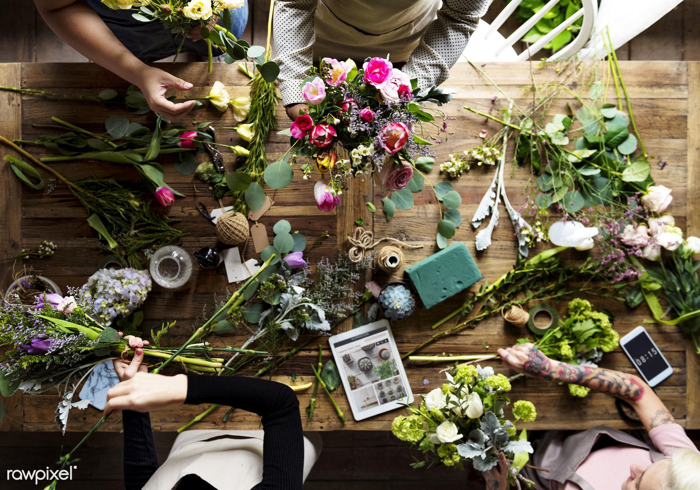Florist job flower arrangement and decoration  - hobby, aerial view, table, bouquet, workshop, arrangement, art, business,...