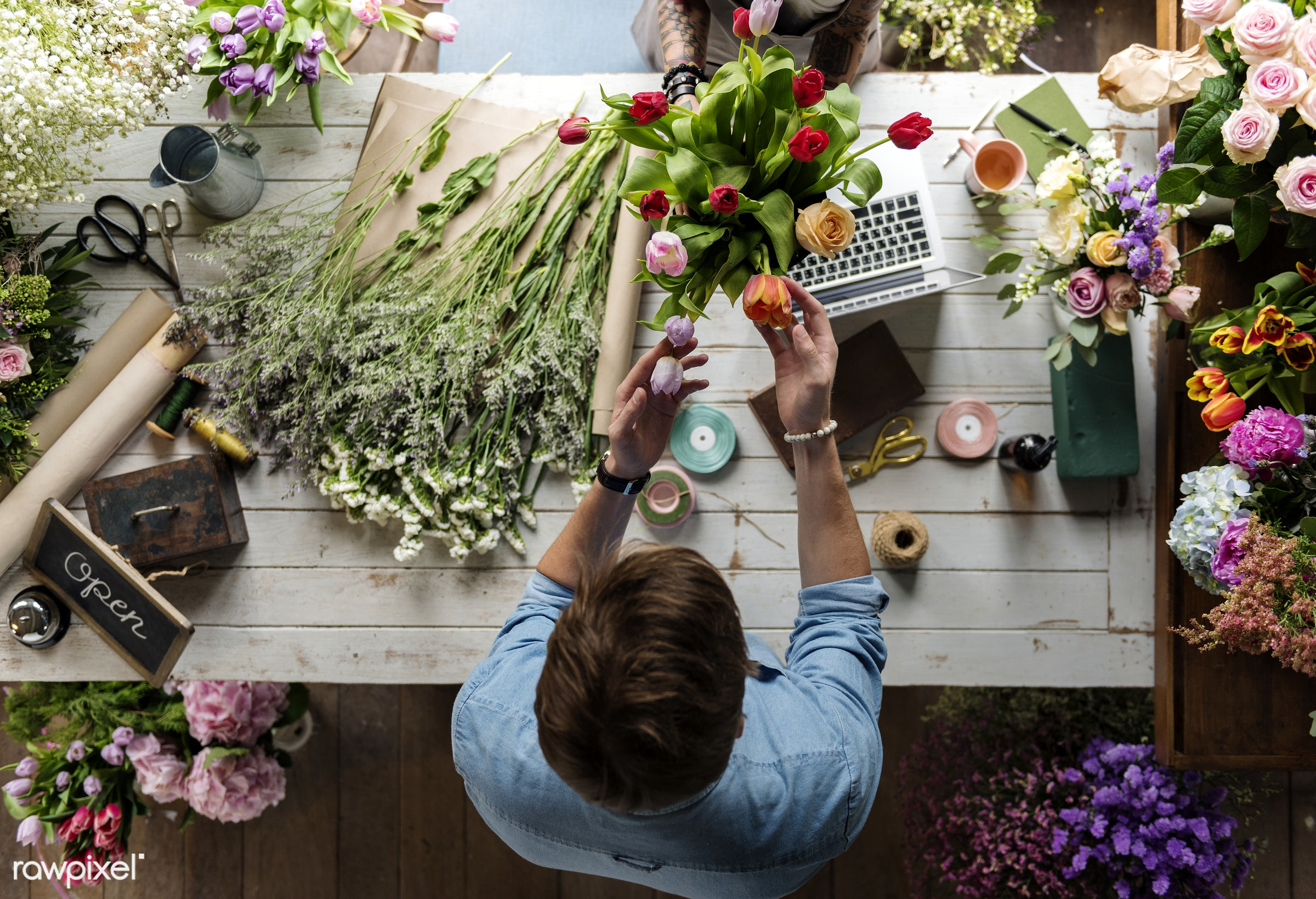Florist job flower arrangement and decoration - flowers, florist, job, occupation, arrangement, decoration, real, fresh,...