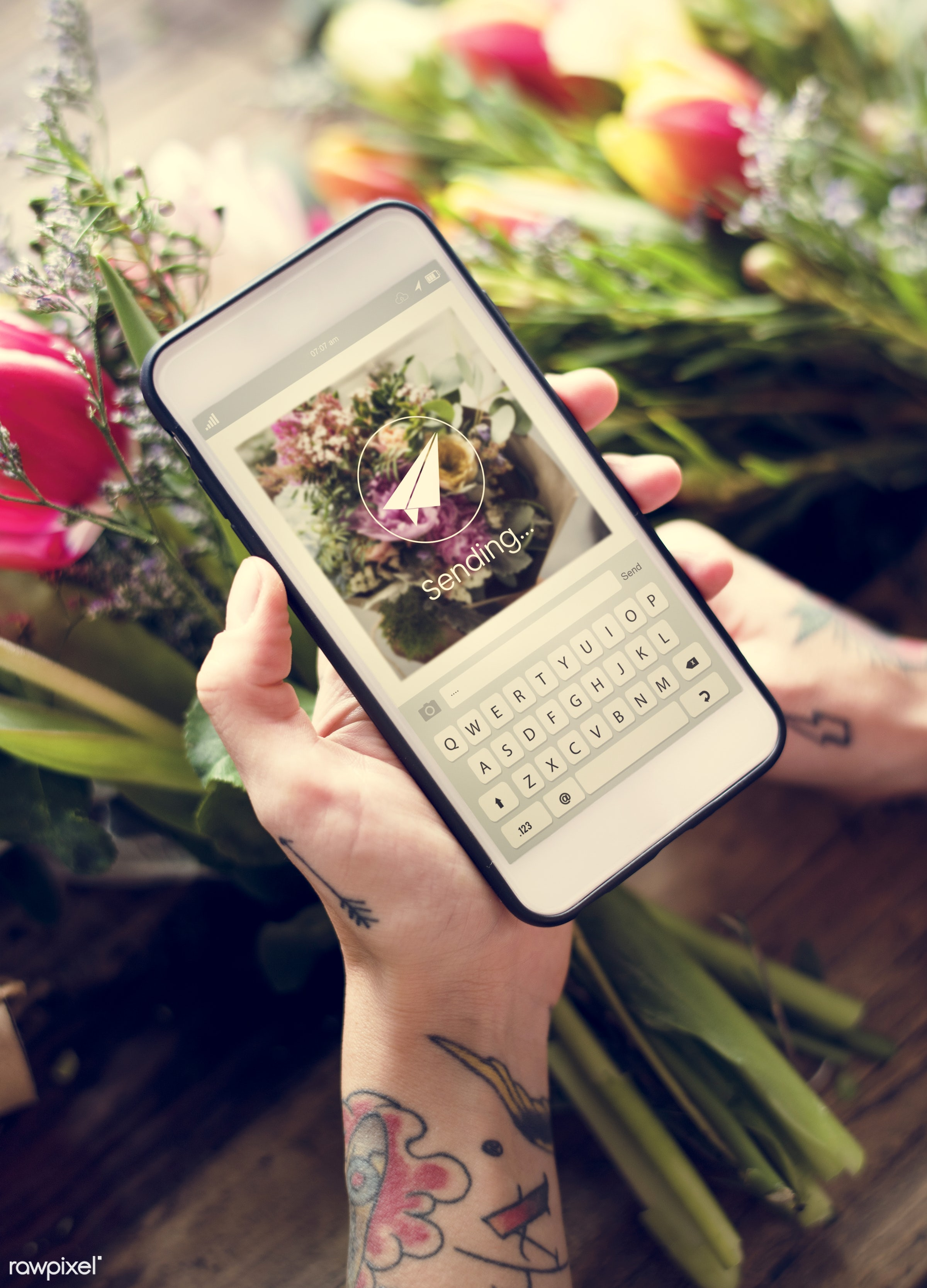 using, detail, person, phone, technology, holding, snap, show, people, decor, nature, capture, tattoo, flowers, screen,...
