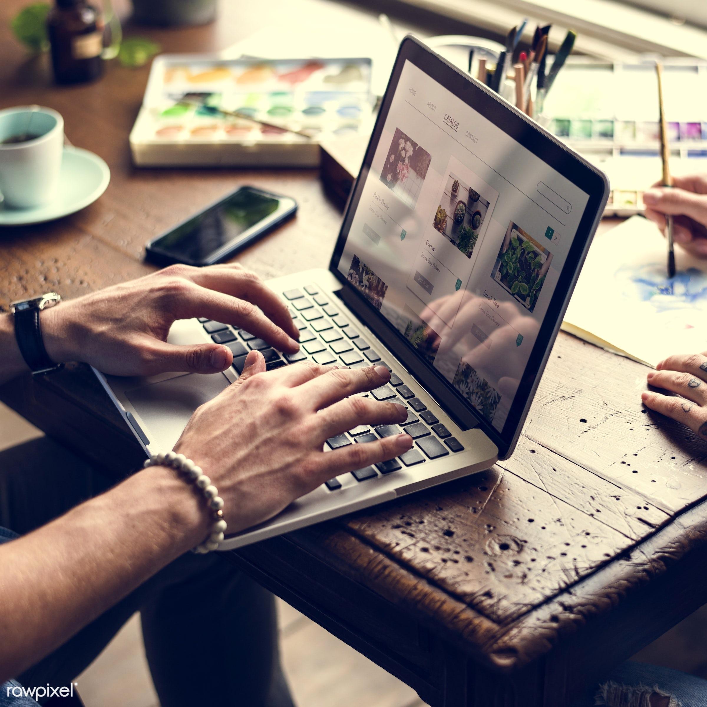 shop, detail, using, merchandise, buy, customer, consumer, friends, search, social, laptop, working, surf, choose, flower,...