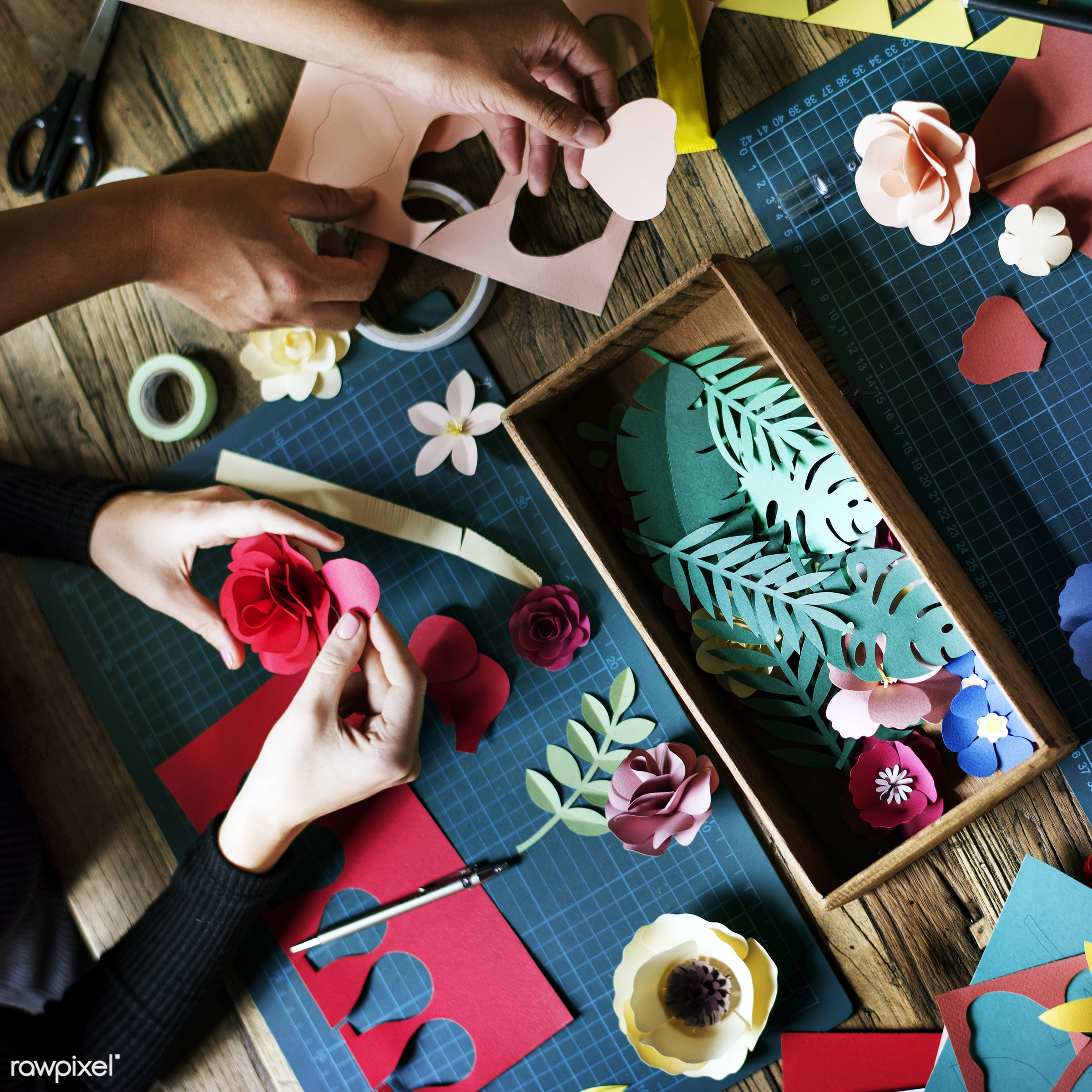 craft, handicraft, leaf, creativity, blossom, hands, working, aerial view, flower, ideas, paper craft, creative, decoration...