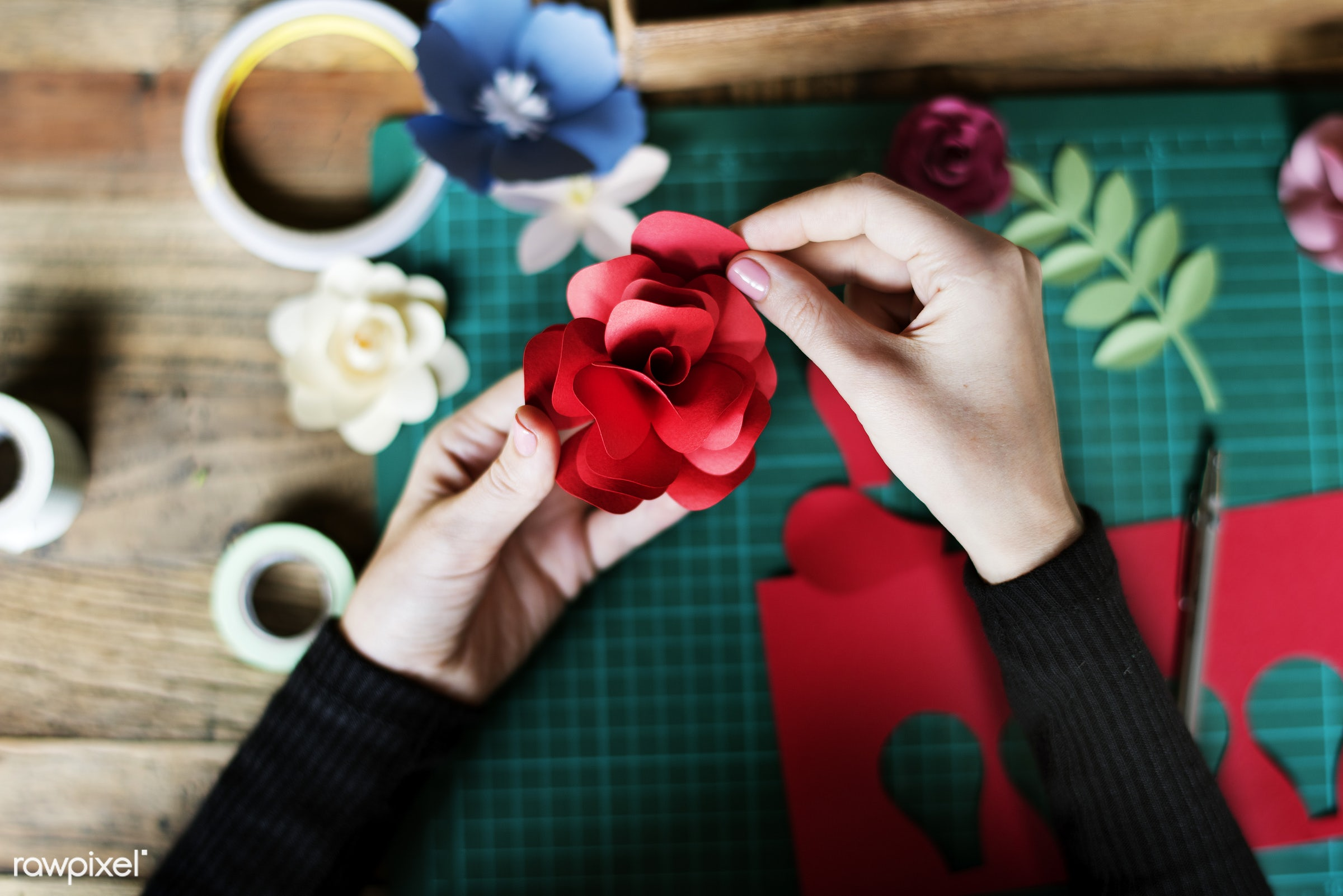 craft, handicraft, leaf, creativity, blossom, hands, working, aerial view, flower, ideas, paper craft, creative, decoration...