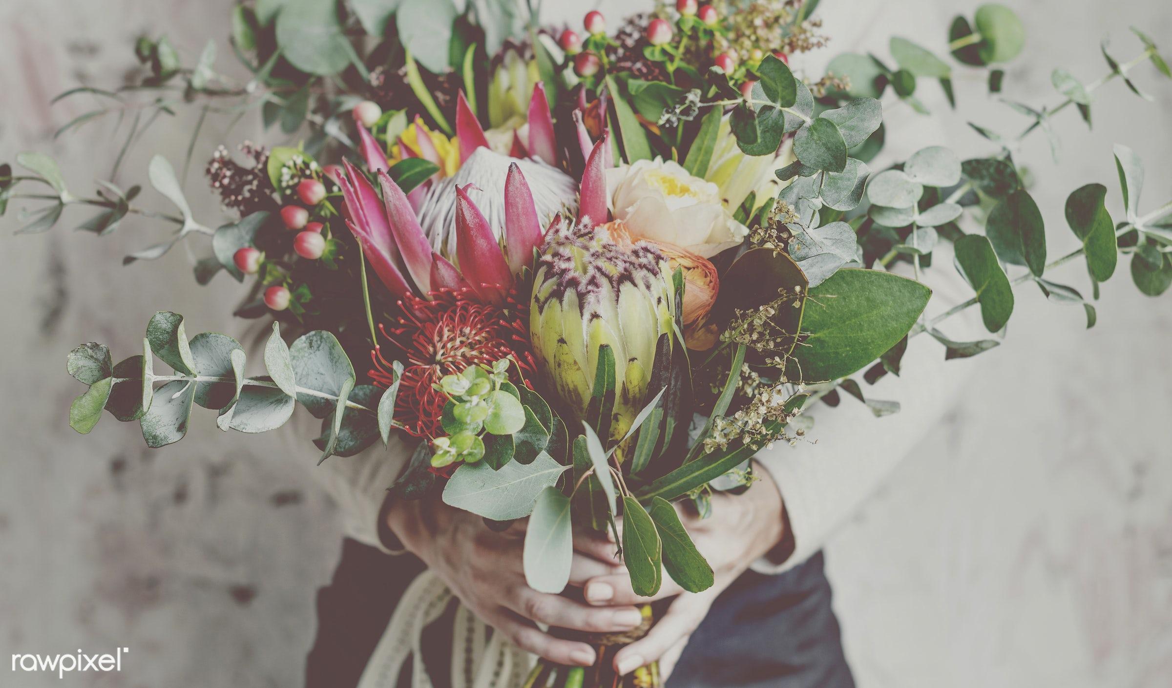bouquet, detail, person, decorative, diverse, holding, colorful, plants, show, people, spring, blossom, love, decor, nature...