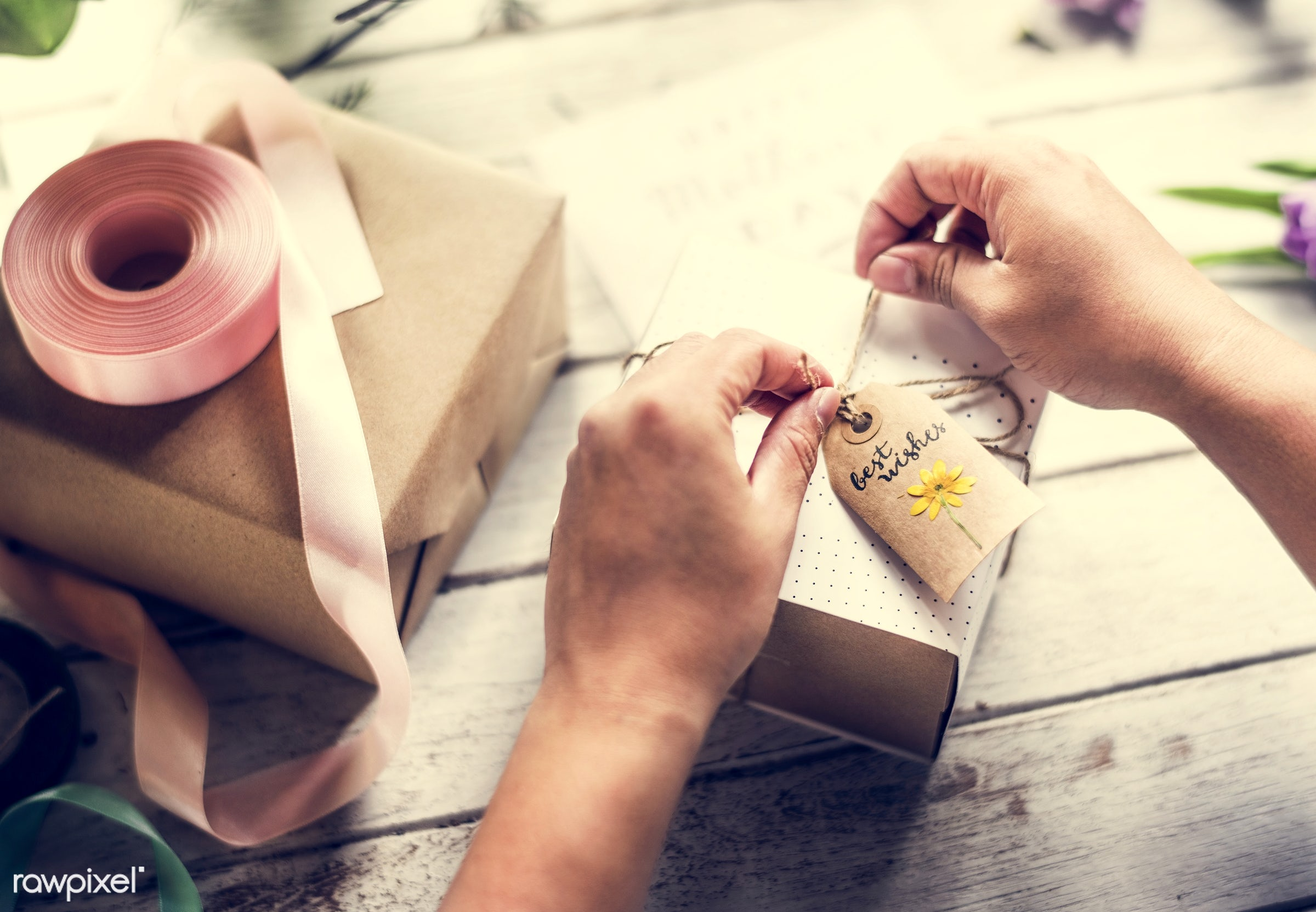 craft, person, tie, wish, handicraft, tag, people, dried, rope, woman, ribbon, action, flowers, wrap, wishes, papers,...