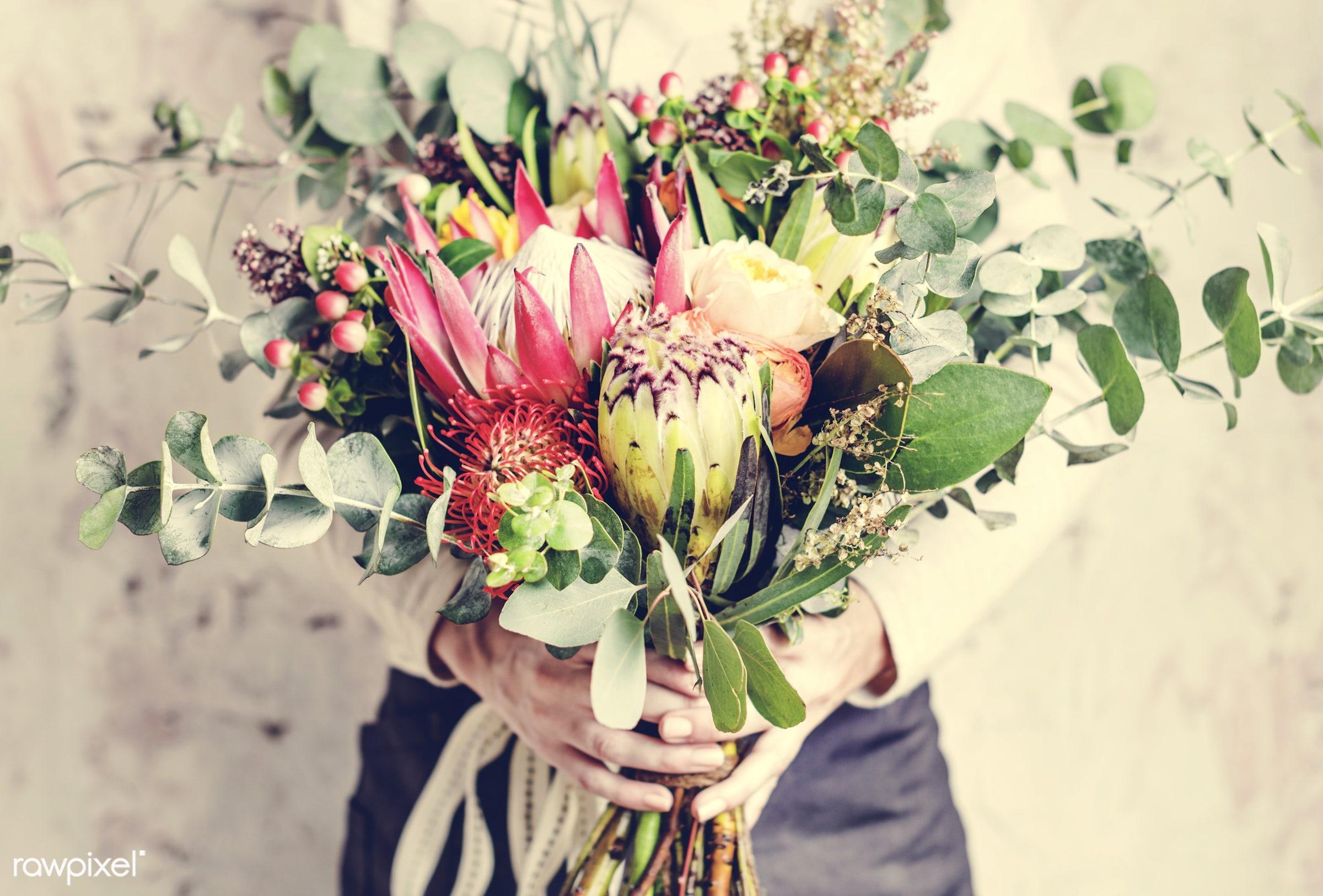 bouquet, detail, person, decorative, diverse, holding, colorful, events, plants, show, spring, people, blossom, love, decor...