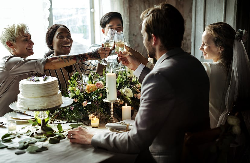 People having a toast at a wedding table